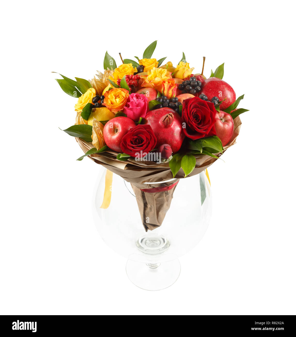 Original Gift In The Form Of A Bouquet Consisting Of Yellow And Red