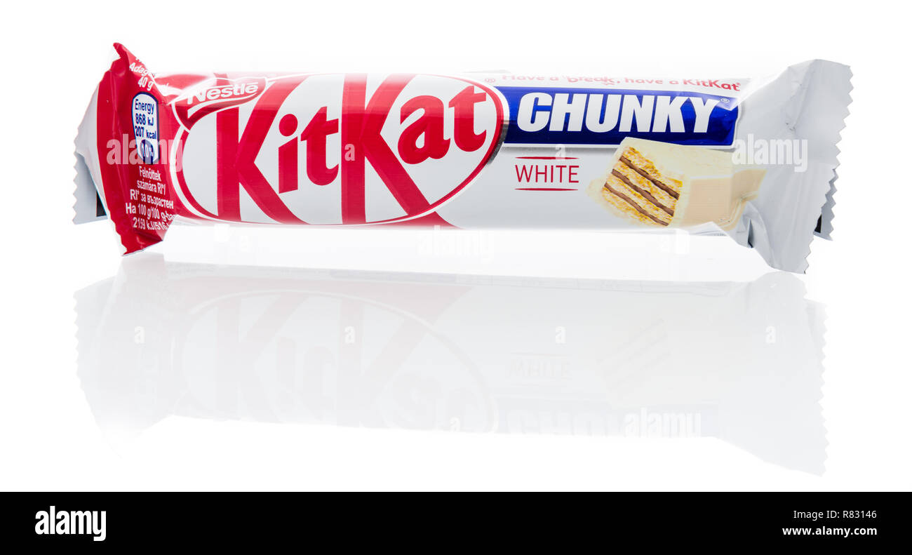 Winneconne, WI - 10 December 2018: A package of Nestle KitKat white chocolate chunky candy bar on an isolated background. - Stock Image