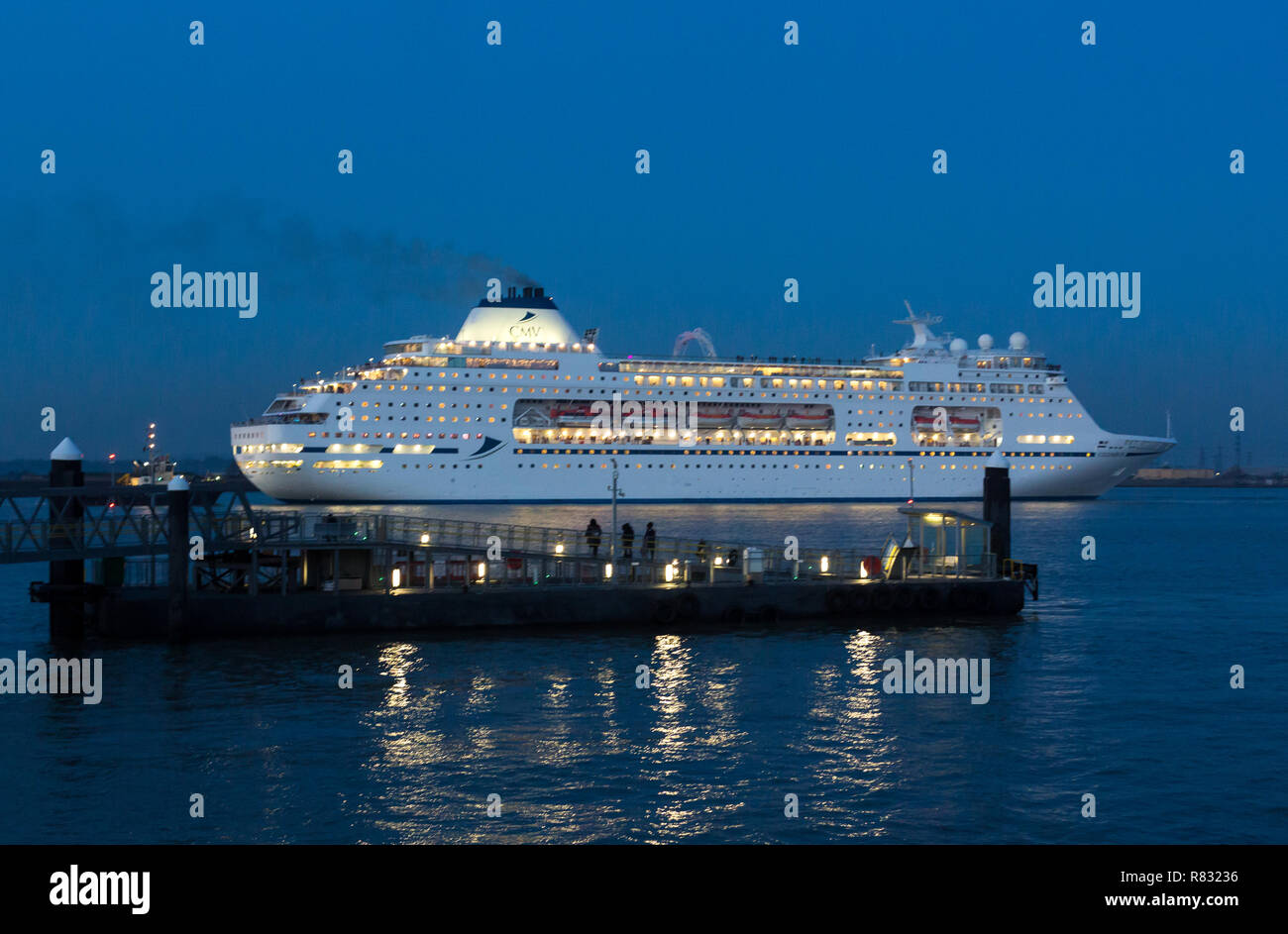 Gravesend, Kent, United Kingdom. 11th December, 2018. CMV cruise ship Columbus seen from historic Gravesend Town Pier as she departs from Tilbury for a short cruise Christmas Market cruise to Europe. Rob Powell/Alamy Live News Stock Photo
