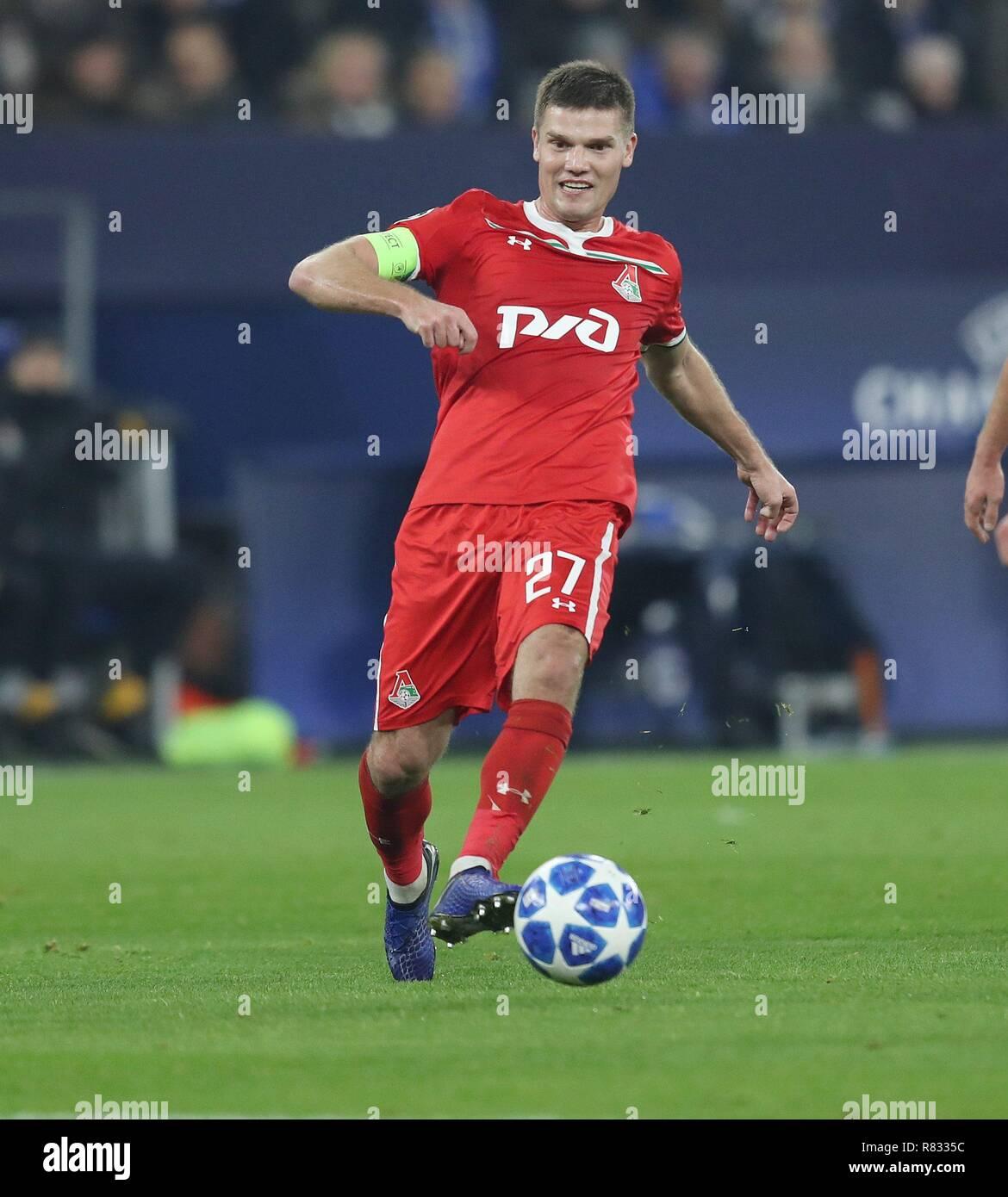 firo Football, 11.12.2018 Champions League FC Schalke 04 - Lokomotiv Moscow 1: 0 Igor Denisov, single action   usage worldwide - Stock Image
