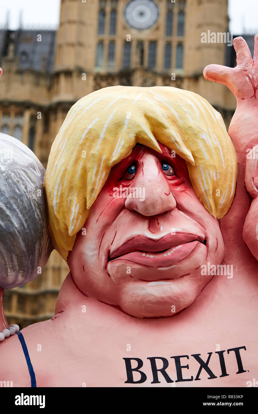 London, UK. 12th December 2018.Caricature mocking Conservative politician Boris Johnson displayed outside the Houses of Parliament. Credit: Kevin J. Frost/Alamy Live News - Stock Image