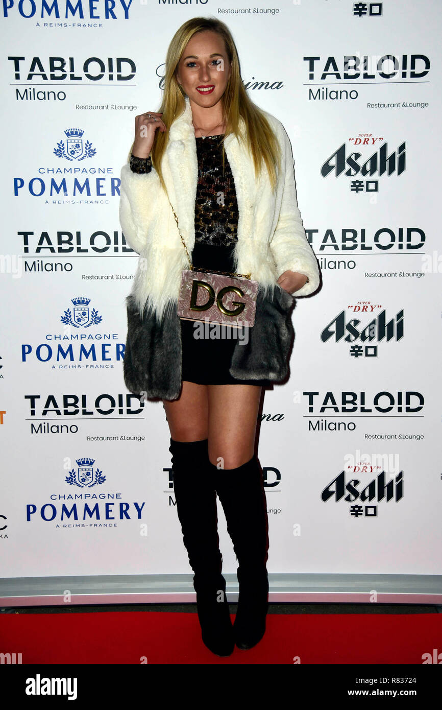 """Milan, Italy. 12th Dec, 2018. Milan, """"Tabloid"""" restaurant inauguration In the picture: Raffaella Cafagna Credit: Independent Photo Agency/Alamy Live News Stock Photo"""