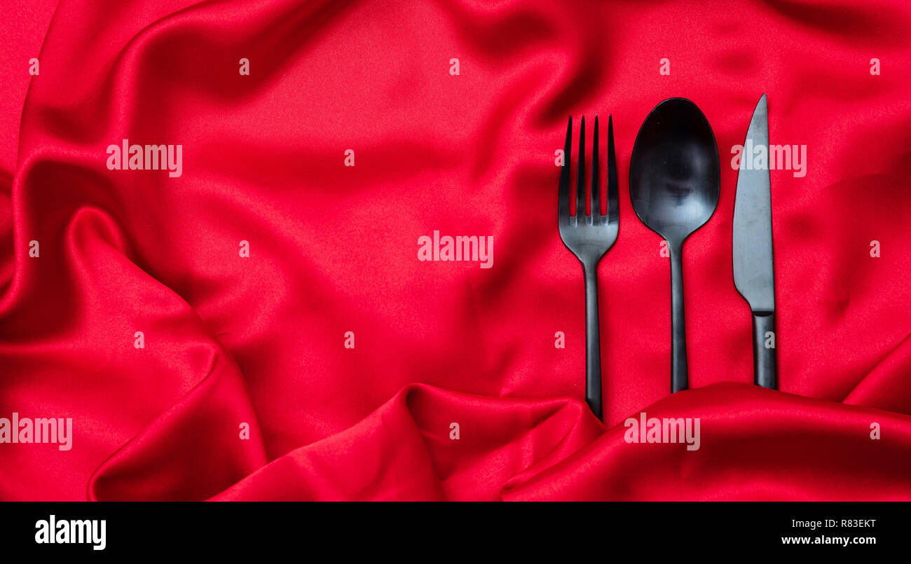 Valentines Day Dinner Table Place Setting Cutlery Black Fork