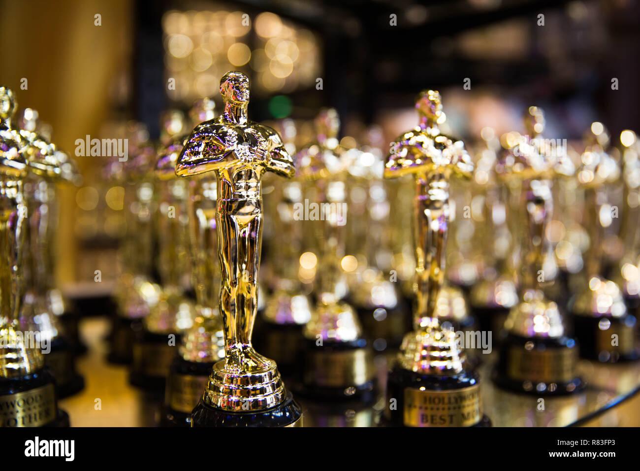 Oscar award. Hollywood, CA/ USA - July 26, 2018: Oscar golden awards in a souvenir store on Hollywood Boulevard - Stock Image
