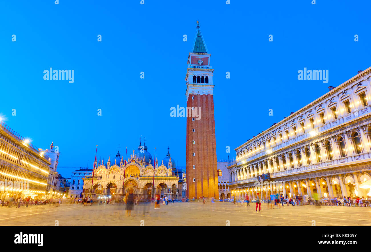 Wide angle shot of The Saint Mark's square in Venice at twilight Italy - Stock Image