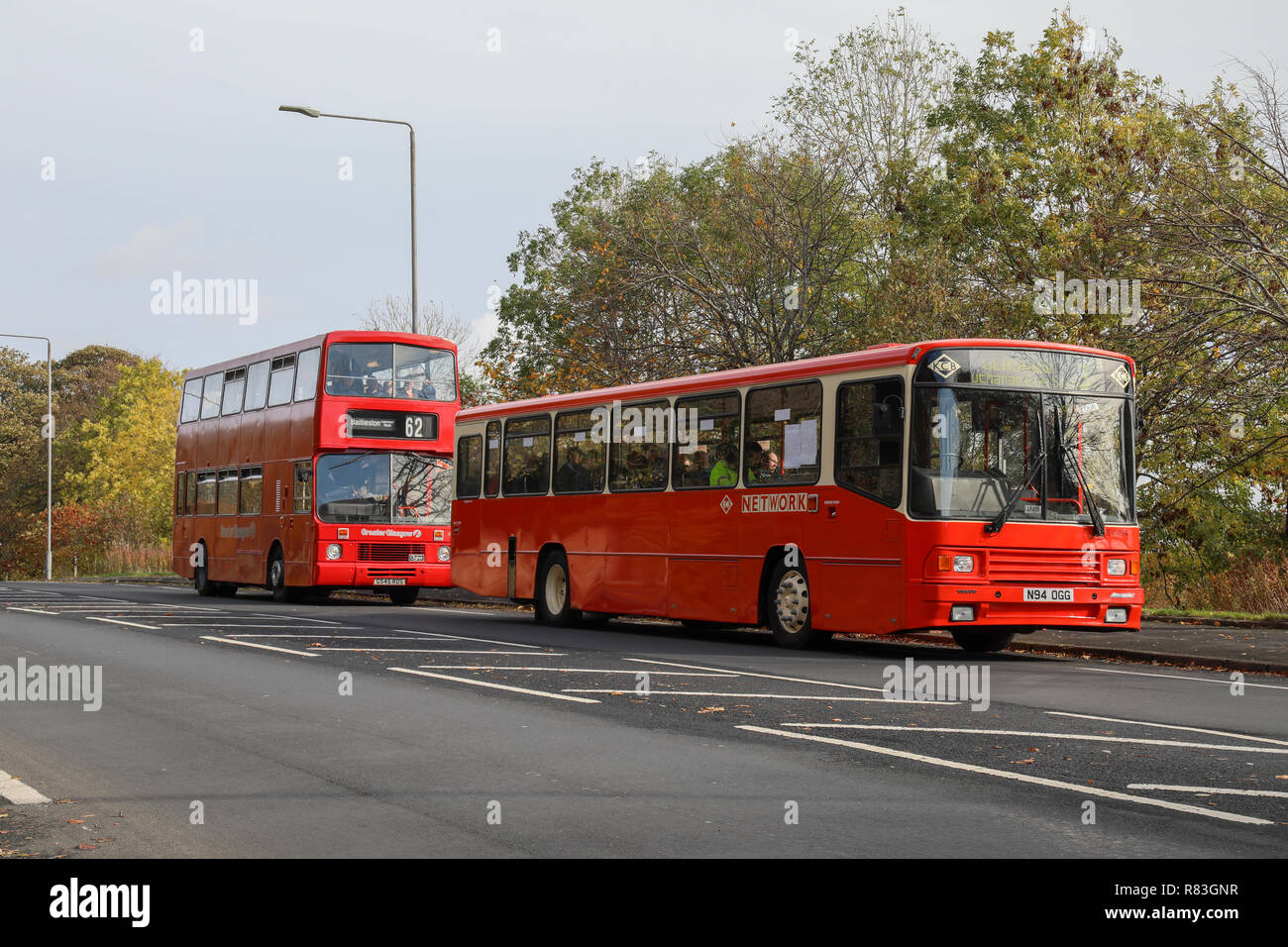 A refurbished single decker  red Volvo B10 bus with Kelvin Scottish Livery, SV494 / N94 OGG on Cumbernauld Road, Glasgow - Stock Image