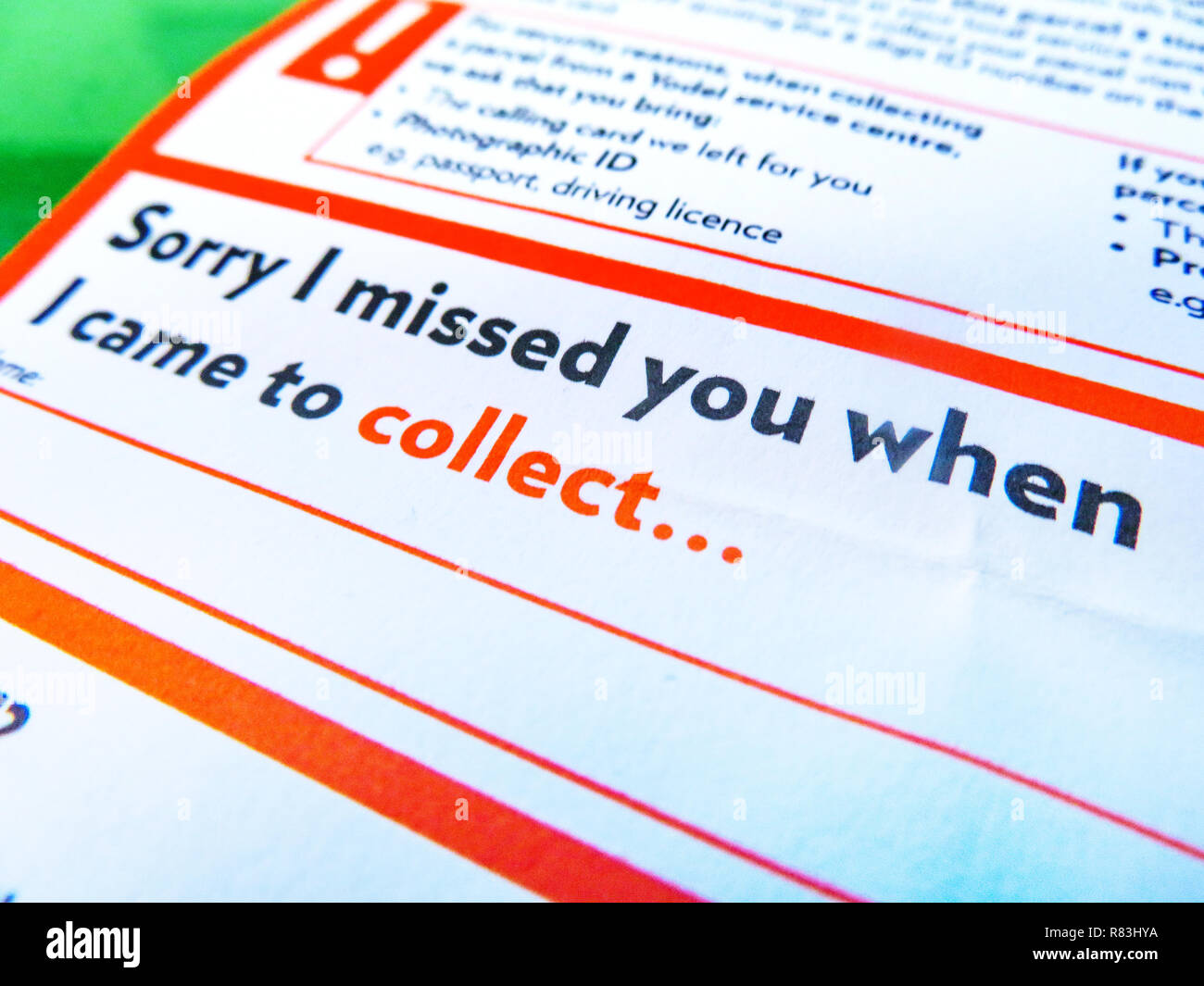 Yodel None Delivery Note. Sorry I missed you when I came to deliver - Stock Image