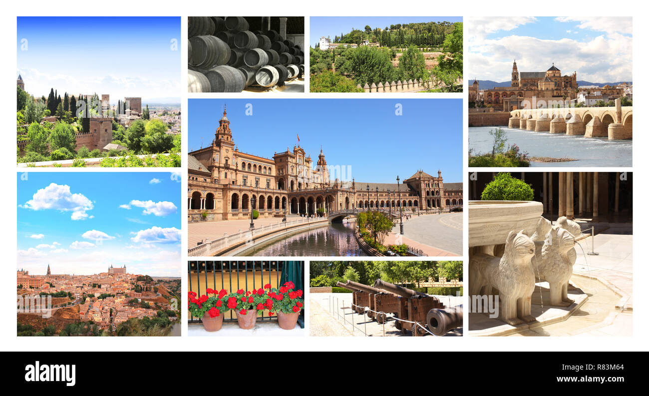 Collection - famous places of Spain - Stock Image