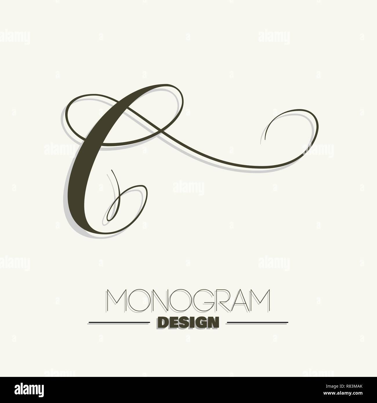 Capital C Hand Lettering Monogram Design Stock Vector Art