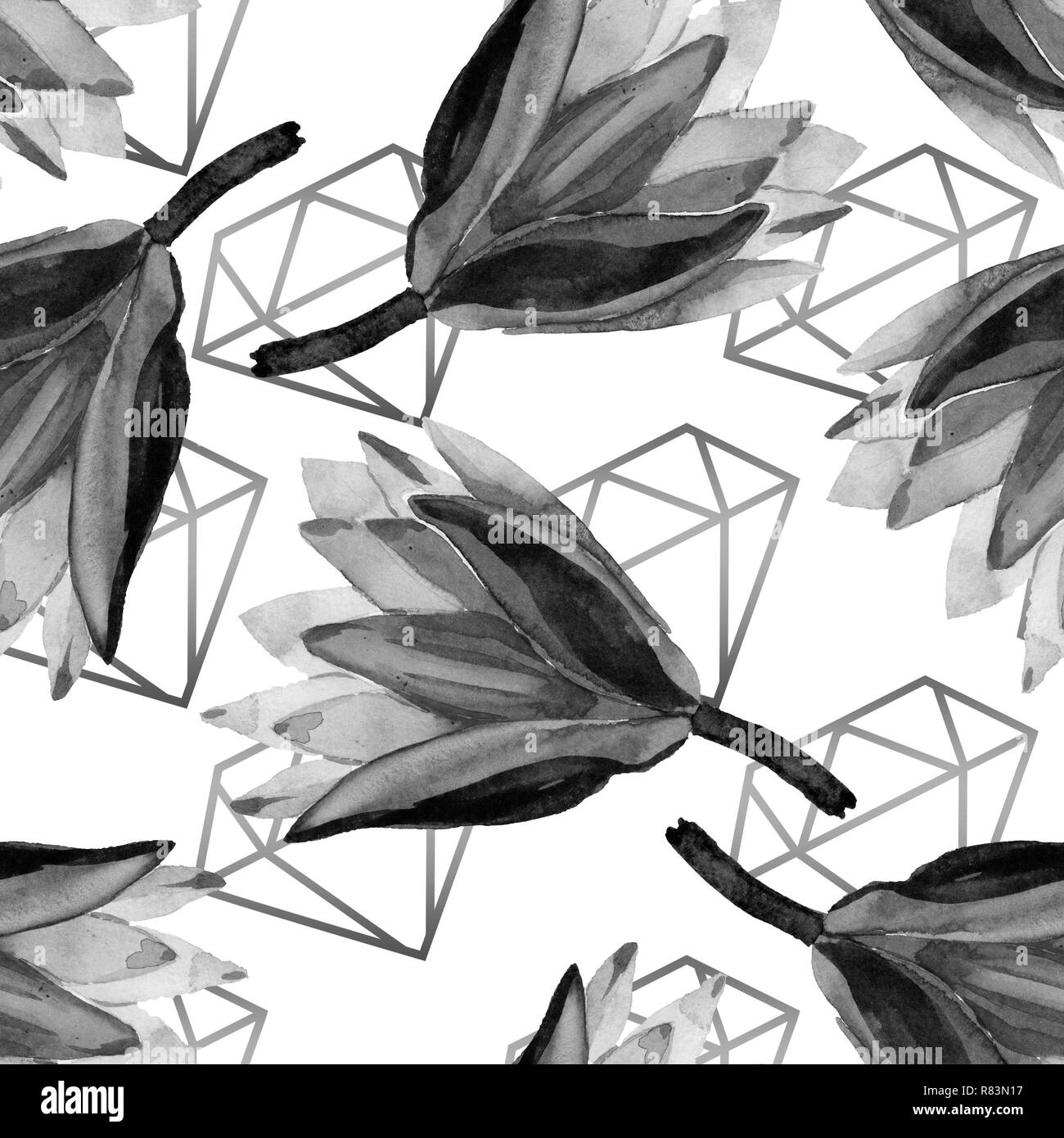 Black Lotus Floral Botanical Flower Watercolor Background Illustration Set Seamless Background Pattern Fabric Wallpaper Print Texture Stock Photo Alamy