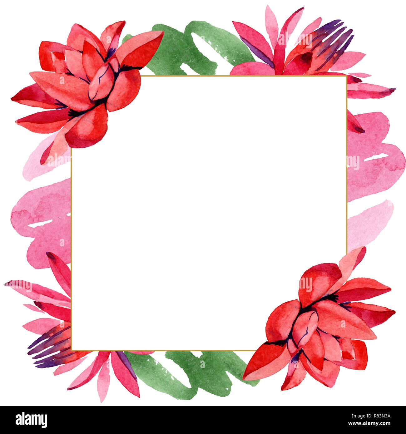 85ad5167938e Red lotus. Floral botanical flower. Watercolor background illustration set. Frame  border ornament square