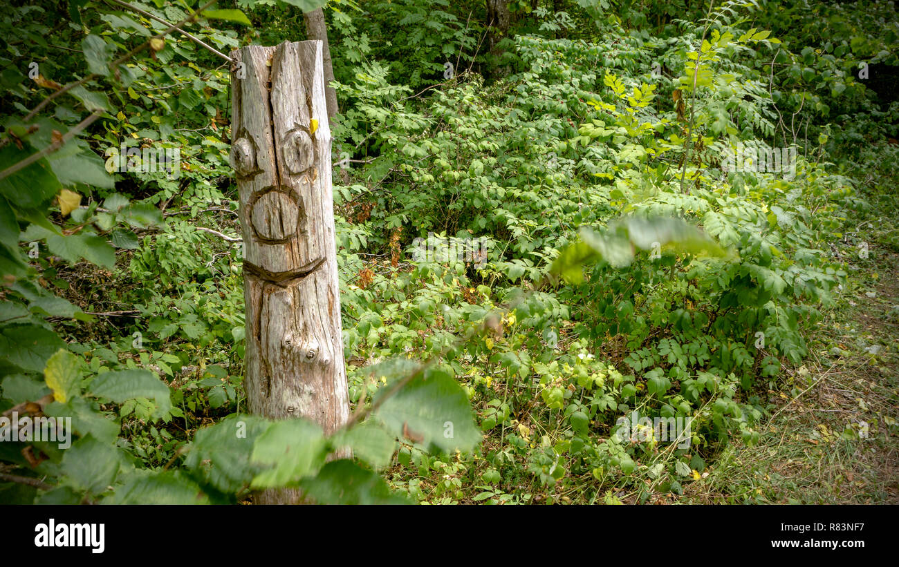 The side post of the pagan temples depicting the spirit of the forest - Stock Image