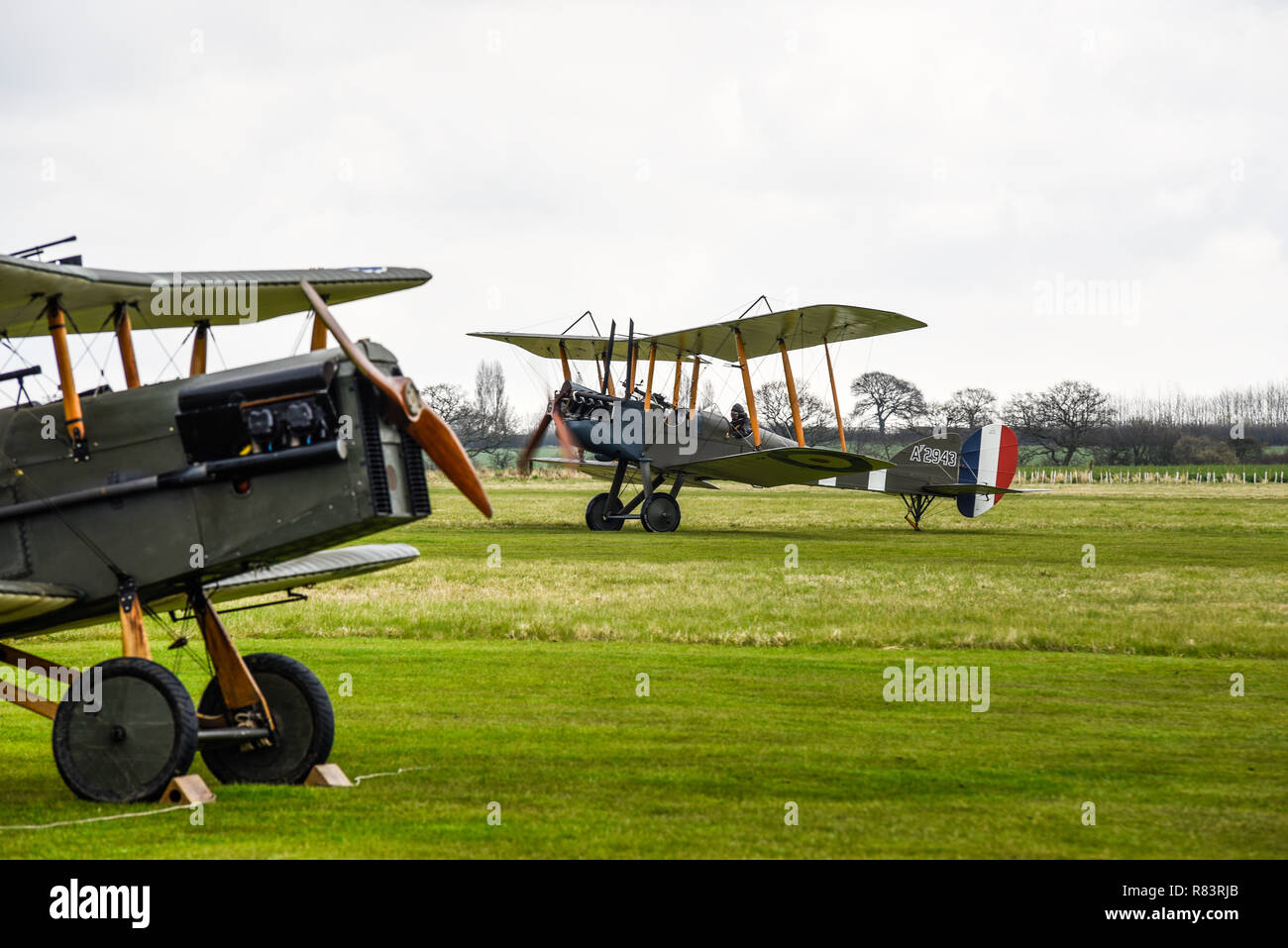 First World War Royal Flying Corps RFC or Royal Air Force RAF planes at Stow Maries World War One aerodrome. Great War airfield on centenary of RAF - Stock Image