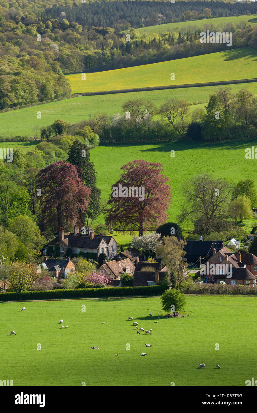 Looking down on the village of Turville, Buckinghamshire. - Stock Image