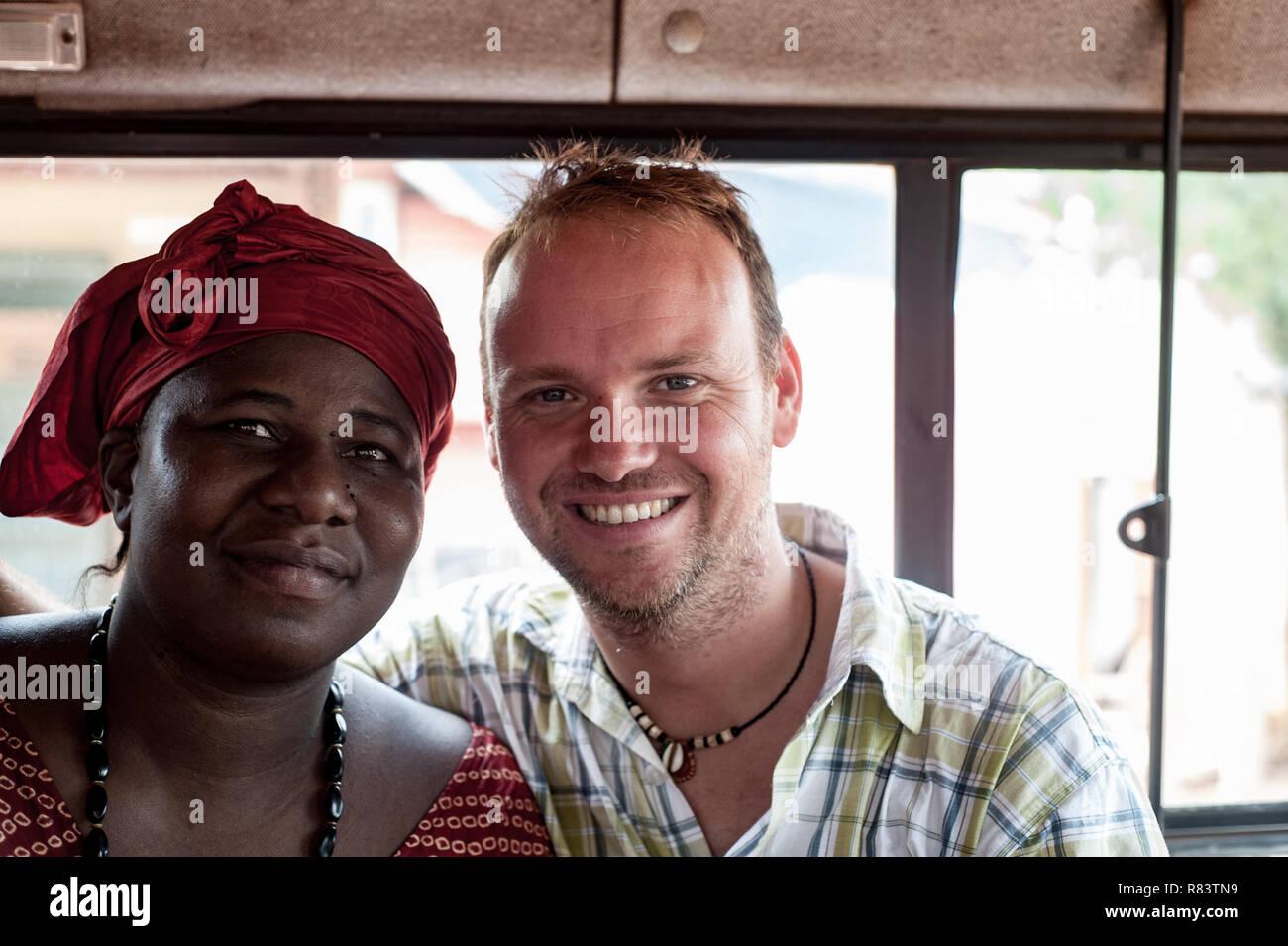 Mali Africa White Caucasian Mature Man Portrait With A Black African Mature Woman Inside A Bus Near Bamako Stock Photo Alamy