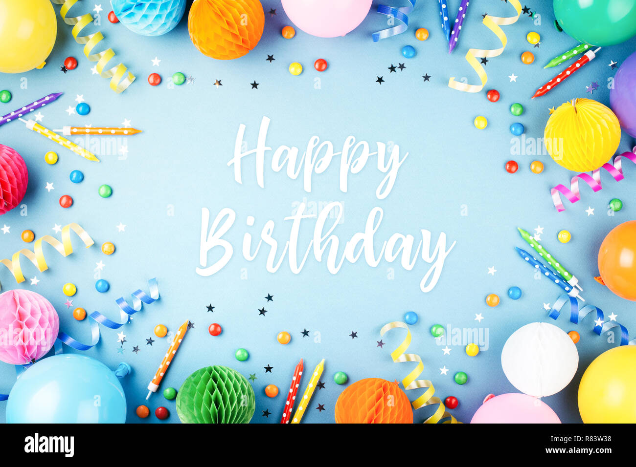 Birthday Party Background With Happy Birthday Greeting Text On Blue