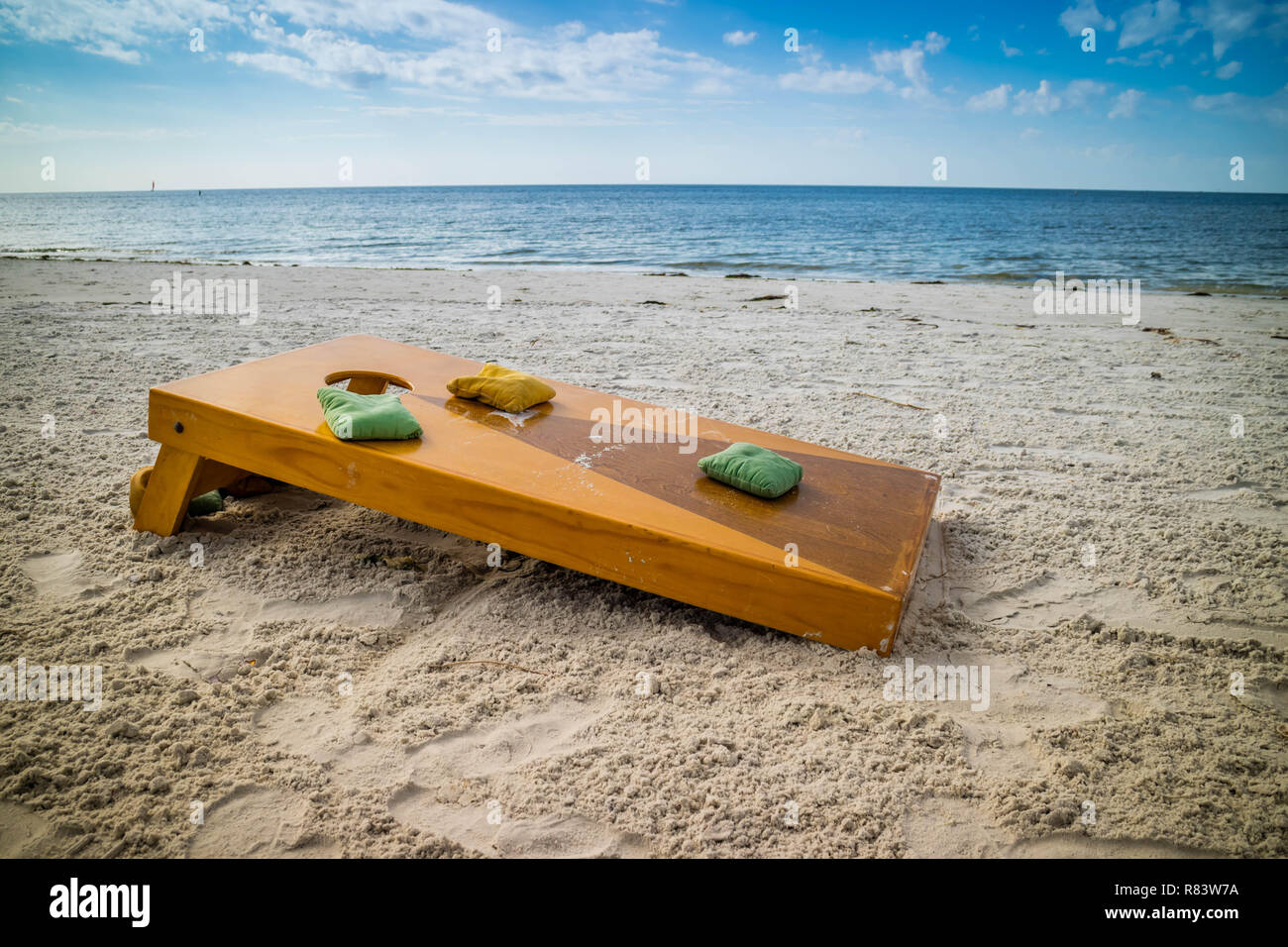 A popular game of Corn Hole in a fine weather at Fort Myers, Florida - Stock Image