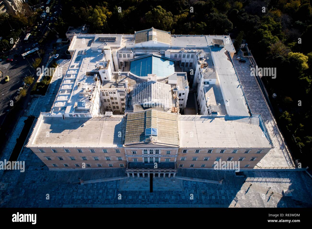 The Greek Parliament from drone - Stock Image