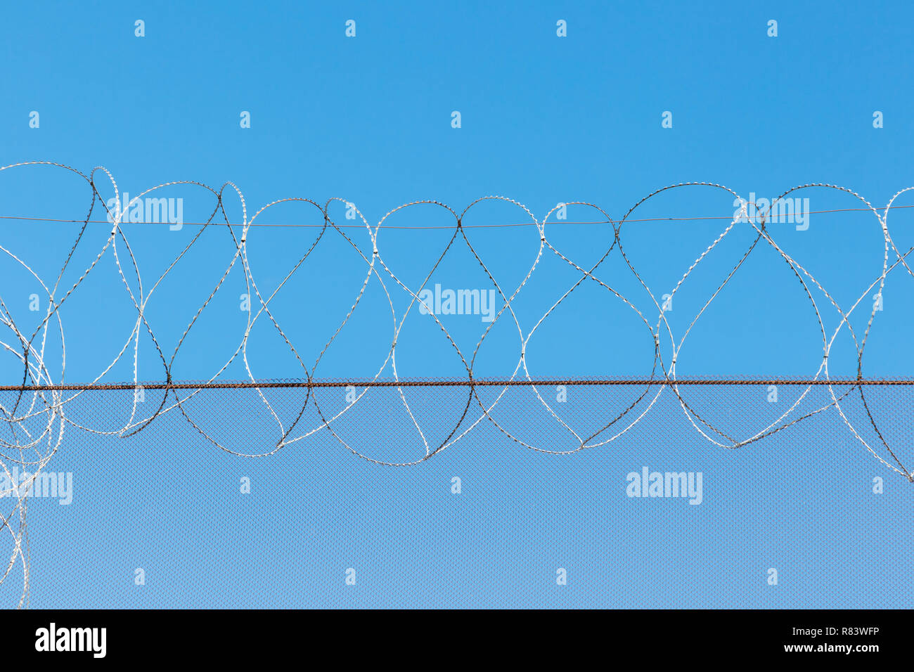Safety fence. Barbed wire closeup Stock Photo