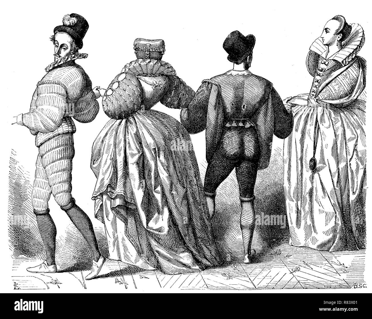 Digital improved reproduction, Fashion in France for Men and Women in ther year 1584, France, Die Mode im Jahr 1584 in Frankreich, Herren und Damen, from an original print from the year 1855 - Stock Image