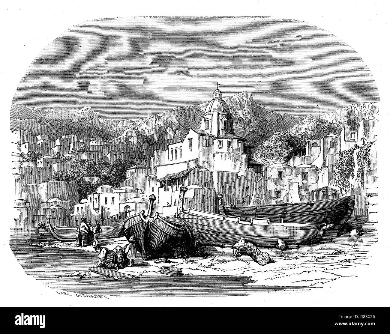 Digital improved reproduction, Positano, a village and comune on the Amalfi Coast, in Campania, Italy, Positano an der Amalfiküste, Kampanien, Italien, from an original print from the year 1855 - Stock Image