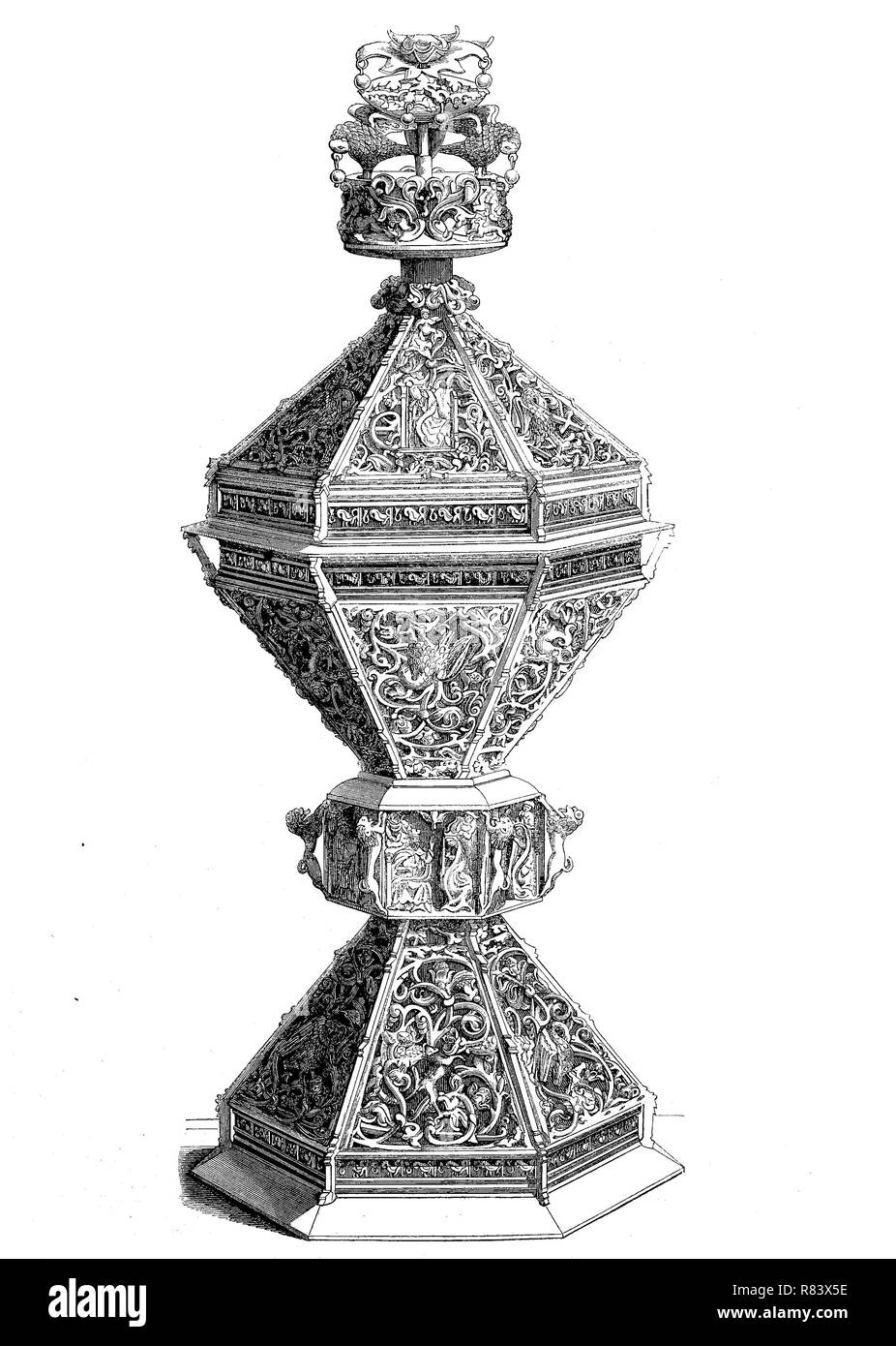 Digital improved reproduction, Silver-gilt and enamel, salt cellar from the year 1517, silbervergoldetes Salzbehältniss, from an original print from the year 1855 - Stock Image