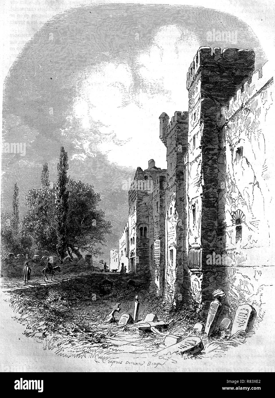 Digital improved reproduction, Sinop, Sinope, a city on the isthmus of Ince Burun, Inceburun, Cape Ince, near Cape Sinope, situated on the most northern edge of the Turkish side of the Black Sea coast, Turkey, Historisches Sinop in der Türkei, from an original print from the year 1855 Stock Photo