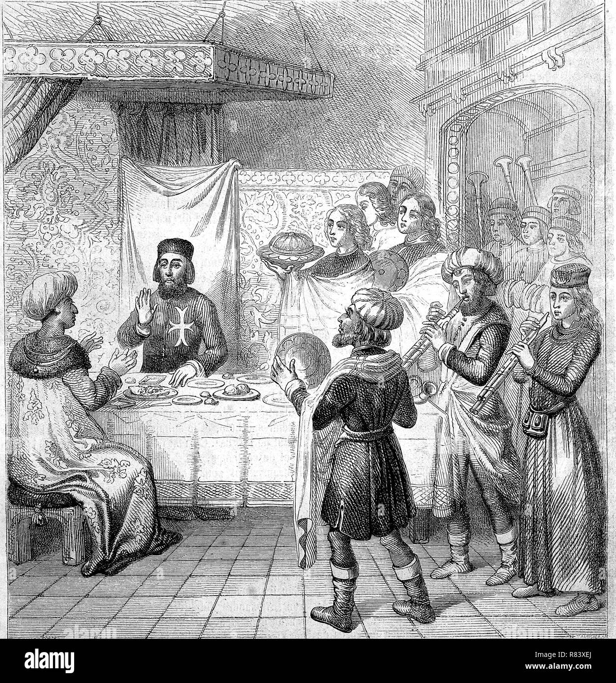 Digital improved reproduction, Sultan Cem or Cem Sultan, 1459-1495, also referred to as Jem Sultan, or Zizim by the French, was a pretender to the Ottoman throne in the 15th century, here with Pierre d'Aubusson at a dinner in Rhodes, Rhodos, Greece, Griechenland, from an original print from the year 1855 - Stock Image