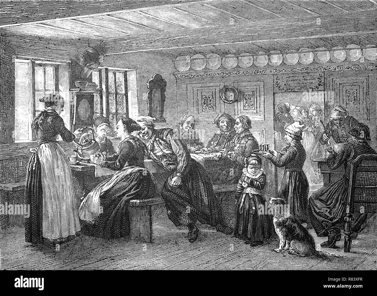 Digital improved reproduction, Denmark, a hostel on the island of Amager, Dänemark, Eine Herberge auf der Insel Amager, from an original print from the year 1855 - Stock Image