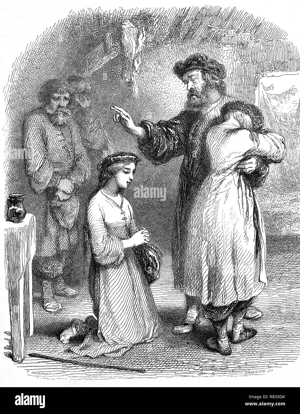 Digital improved reproduction, Pope in Siberia blesses and comfortes the family, Russia, Pope in Sibirien segnet und tröstet die Familie, Russland, from an original print from the year 1855 - Stock Image