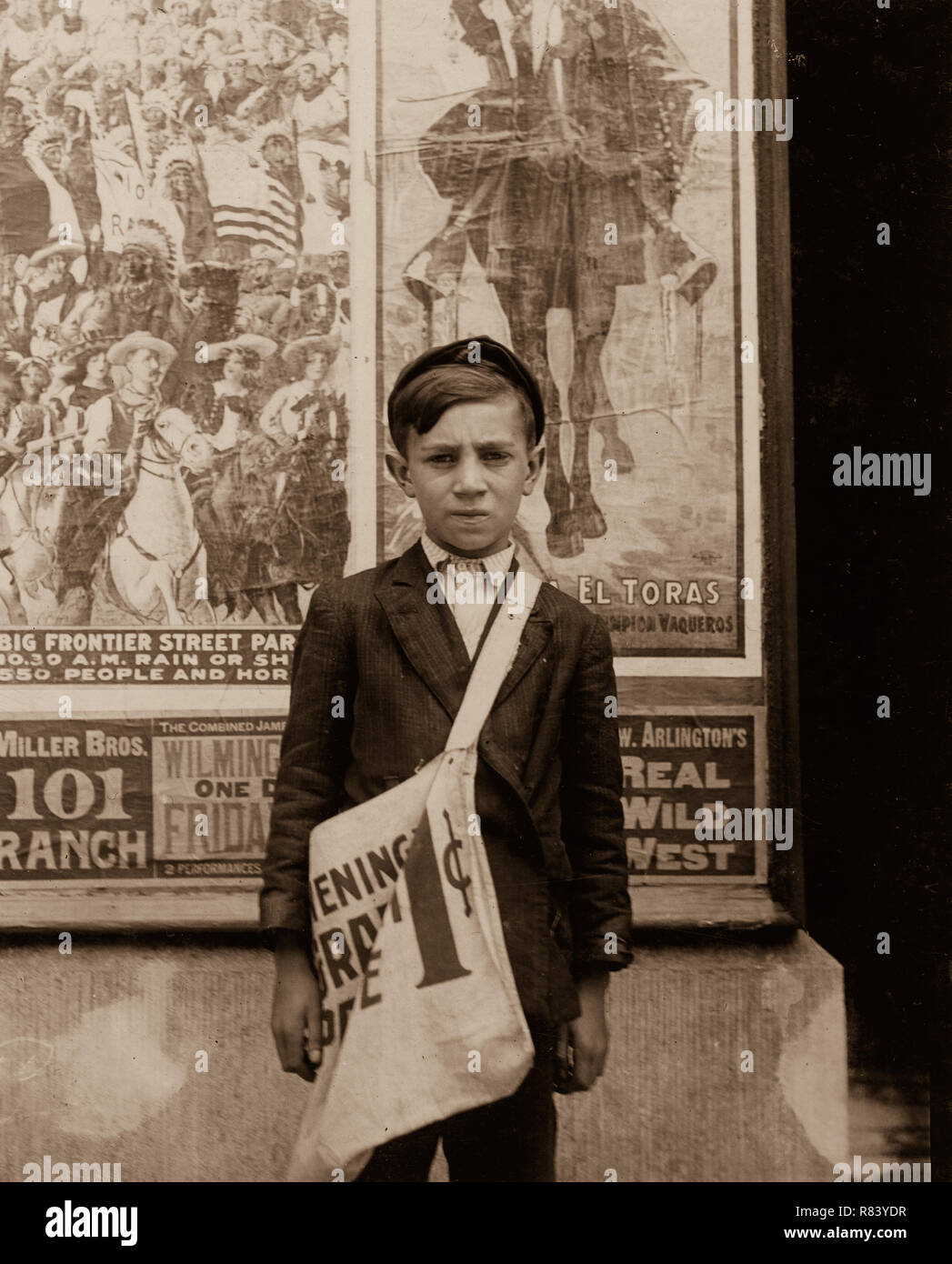 TITLE:  S. Russell, 33 E. 22nd St. Newsboy, 12 years of age. Selling newspapers 2 years. Average earnings 20 cents daily. Selling newspapers own choice. Father earns $18 weekly. Boy deposits earnings in du Pont Savings Bank, and on Saturday night works for Reynold's candy shop, delivering packages. Don't smoke. Visits saloons. Works 5 hours daily, except Saturday, when he works 11. Location: Wilmington, Delaware.  CALL NUMBER:  LOT 7480, v. 2, no. 1511[P&P]   Check for an online group record (may link to related items)  REPRODUCTION NUMBER:  LC-DIG-nclc-03574 (color digital file from b&w origi - Stock Image