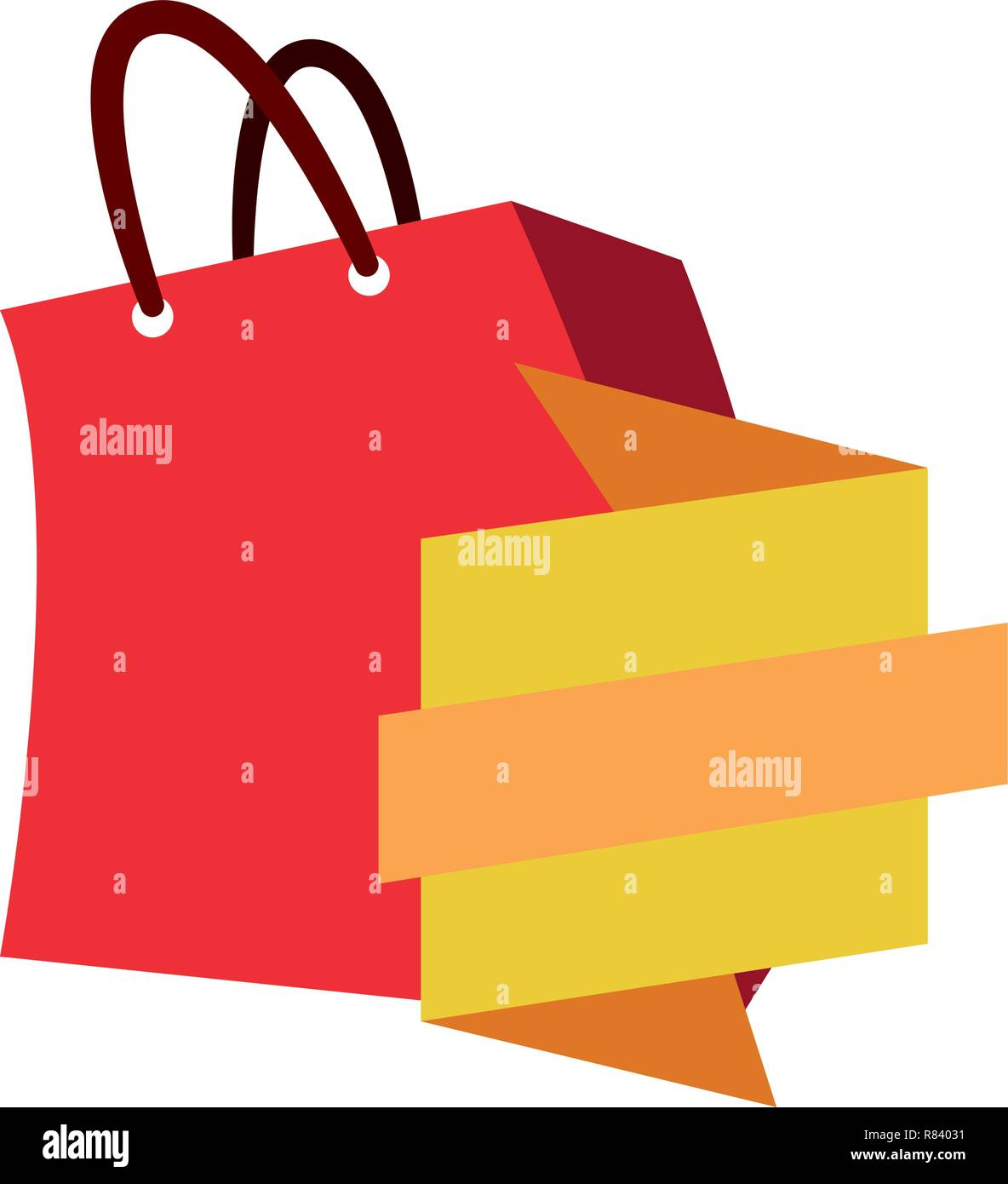 online shopping bag banner ribbon vector illustration Stock Vector ... 780eecadd6555