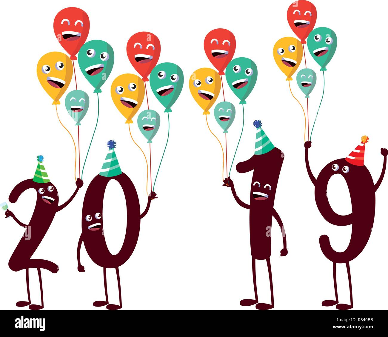 cartoon 2019 numbers and balloons over white background, colorful design, vector illustration Stock Vector