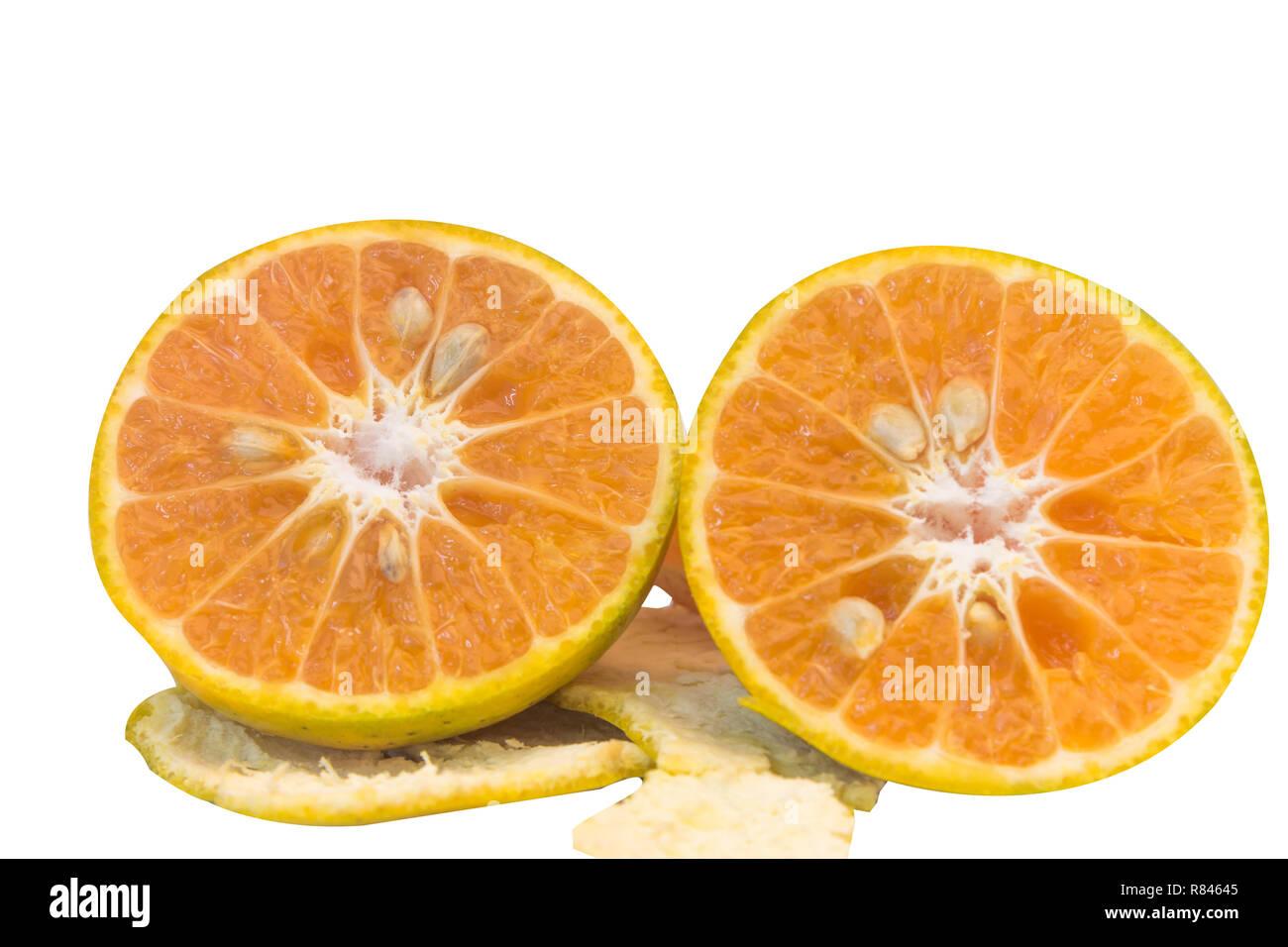 half of fresh orange and slice orange peel oranges with white background isolated with clipping path - Stock Image