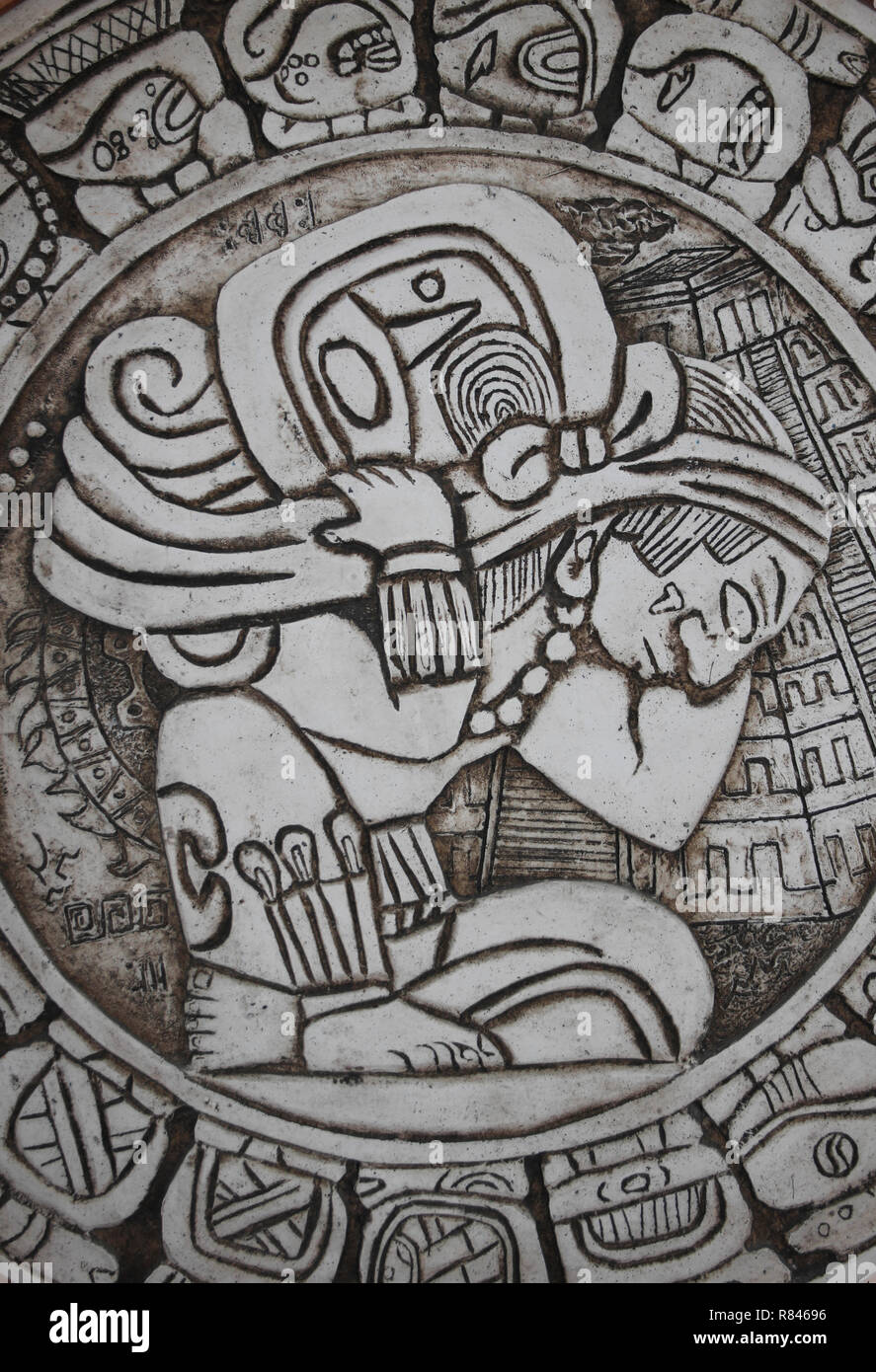 Detail on the Mayan Haab' Calendar Depicting The Burden Of Time - Stock Image