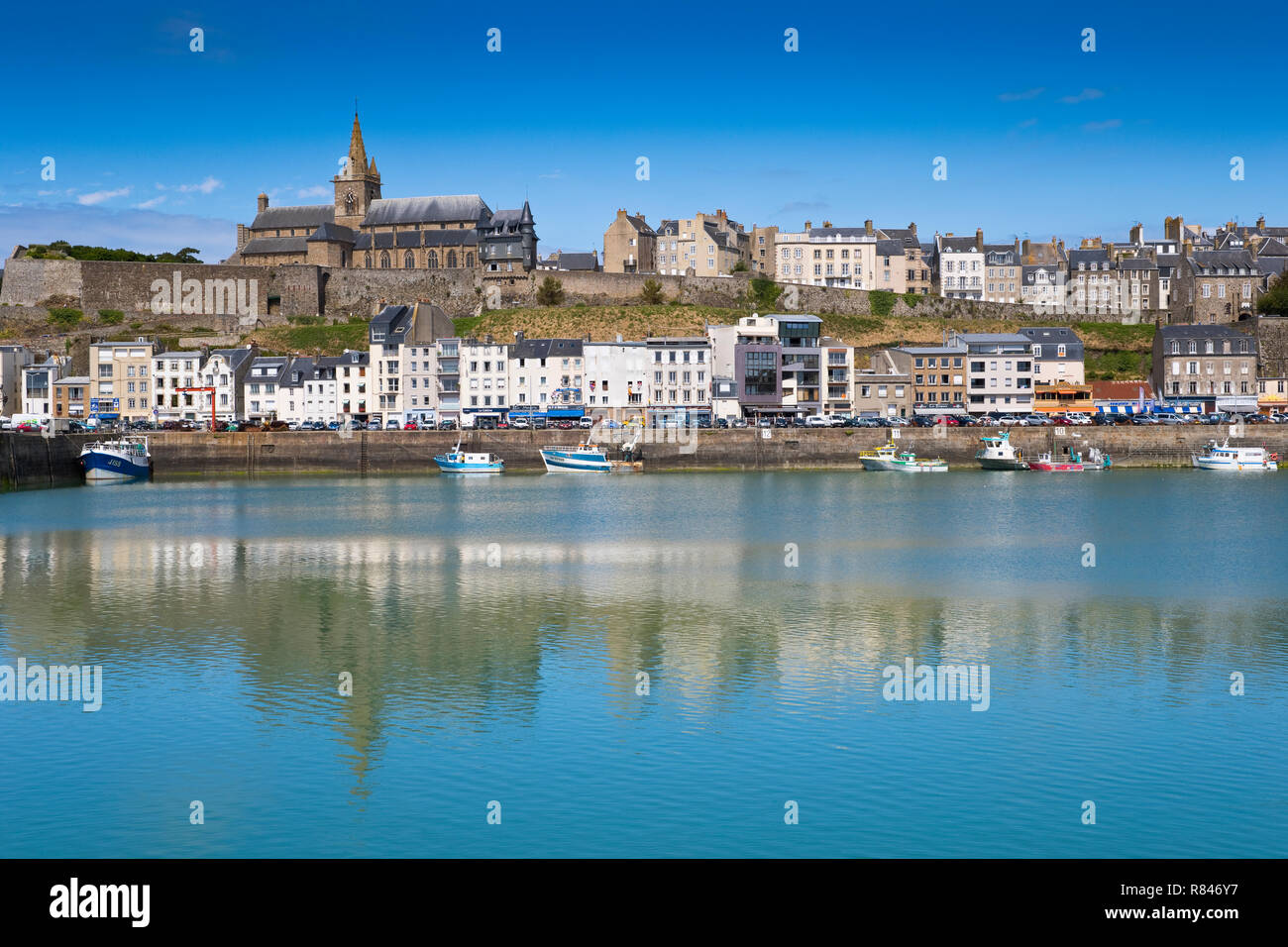 The harbour of Granville, with Notre-Dame church in the background, Granville, Normandy, France - Stock Image