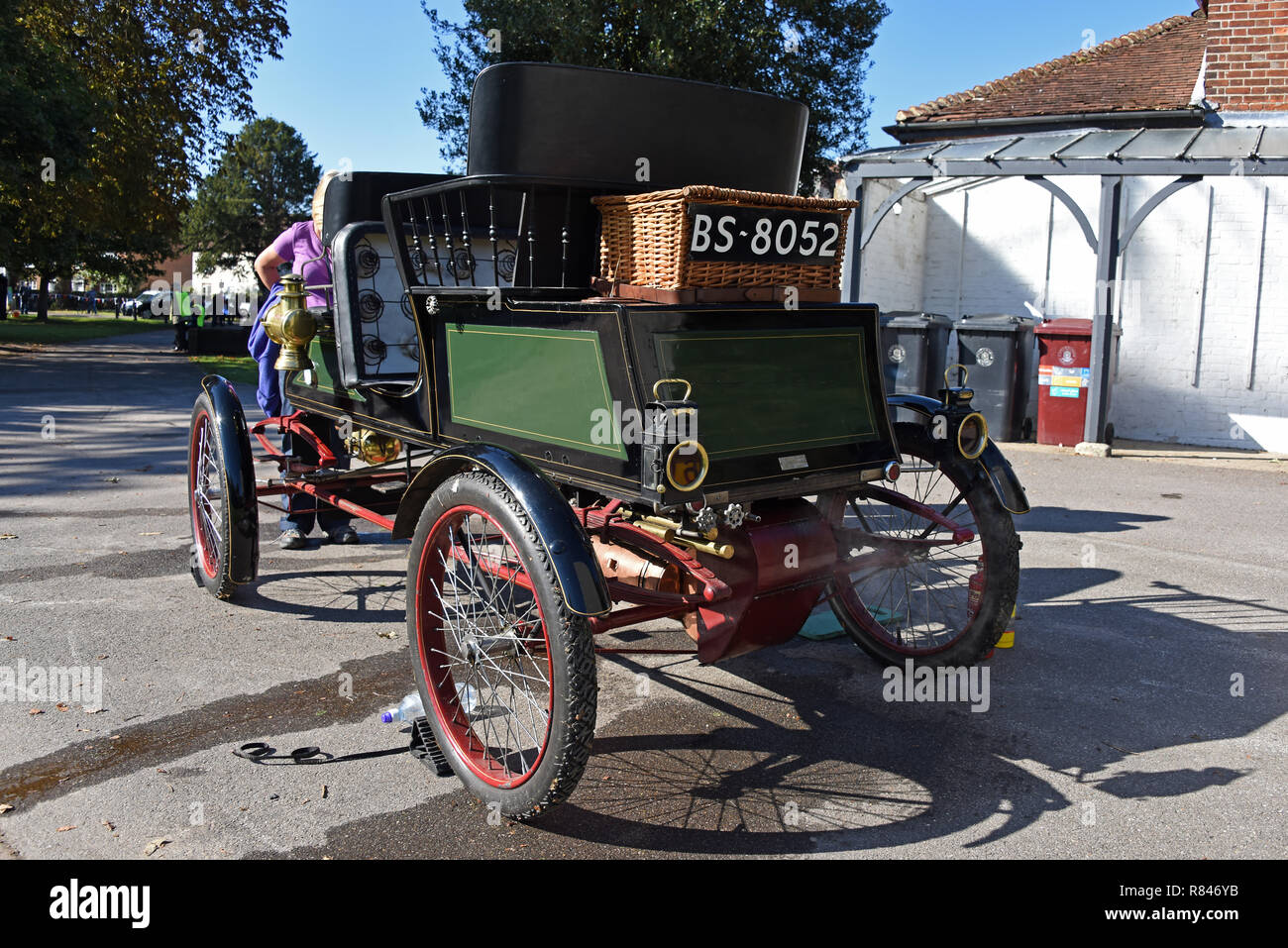 Rear vier of a 1903 Stanley Steam Car, the oldest working example in the UK, getting ready for show at the Priory Park Centenary in Chichester, Southe - Stock Image