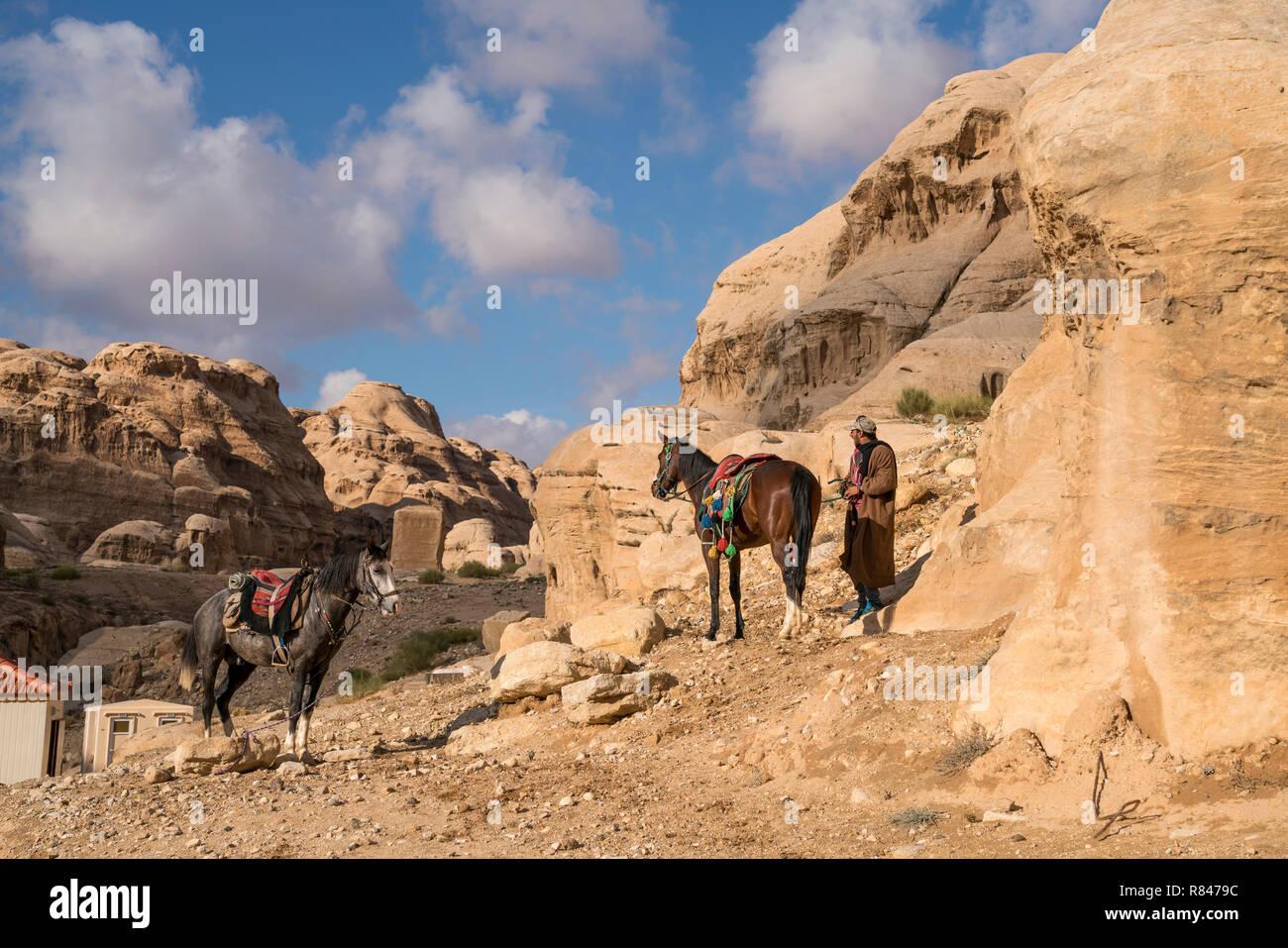Pferde in der Landschaft bei der historischen Ruinenstätte Petra, Jordanien, Asien   horses in the landscape around the ancient city of Petra, Jordan, - Stock Image