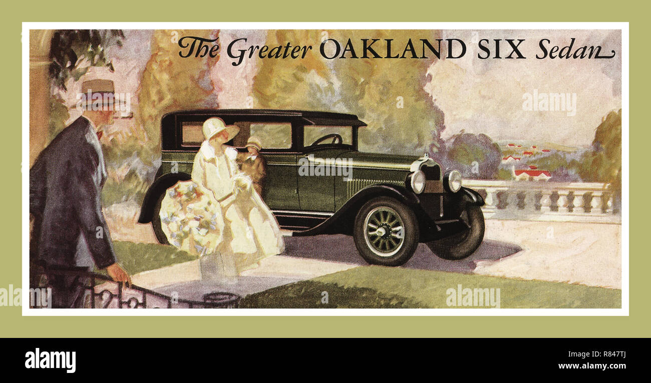 1927 Advertisement watercolour illustration by General Motors for The Greater Oakland Six Landau Sedan Automobile Motor Vehicle Stock Photo