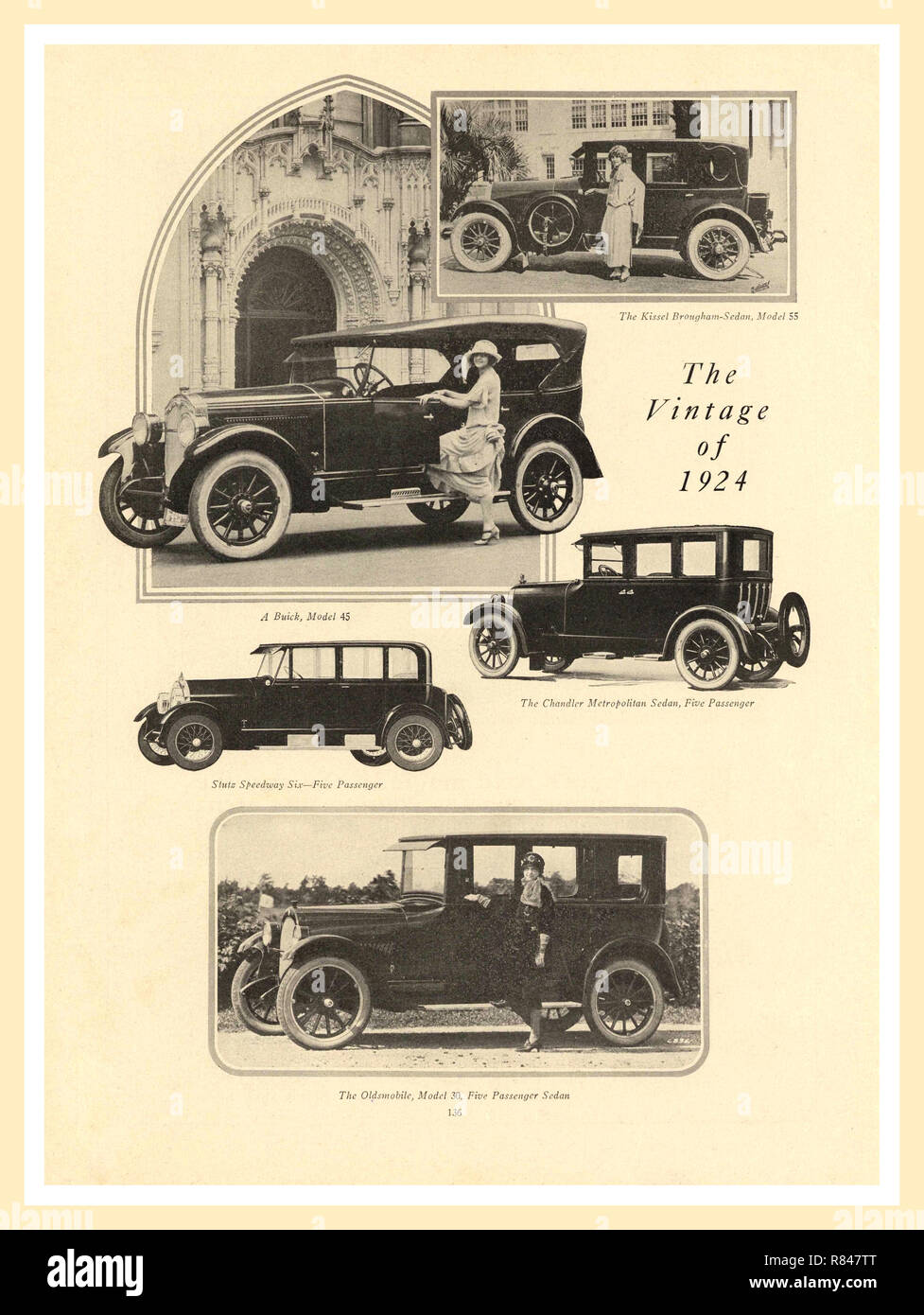 1924 vintage press advertisement for a selection of five of the best American Automobiles for sale The Kissel Brougham Sedan Model 55/ Buick Model 45/The Chandler Metropolitan Sedan 5 Passenger/Stutz Speedway 6 5 passenger/The Oldsmobile Model 30 5 Passenger Sedan - Stock Image