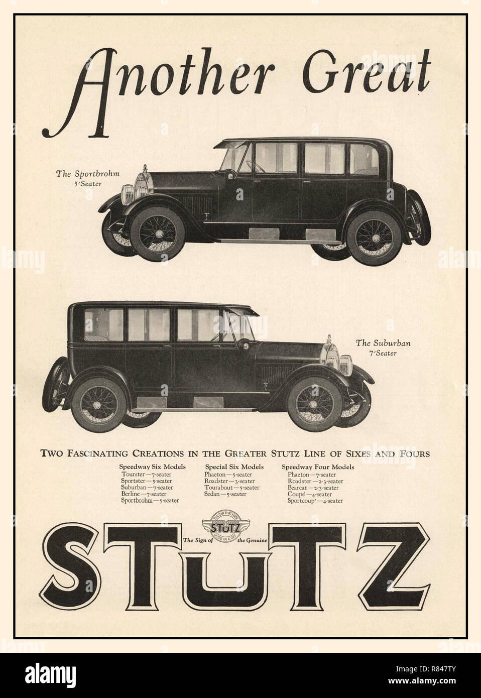 1925 Vintage Press Advertisement for American Stutz Automobiles-The Stutz Sportbrohm 5 seater and The Stutz Suburban 7 seater 4 door sedan  luxury motorcars - Stock Image