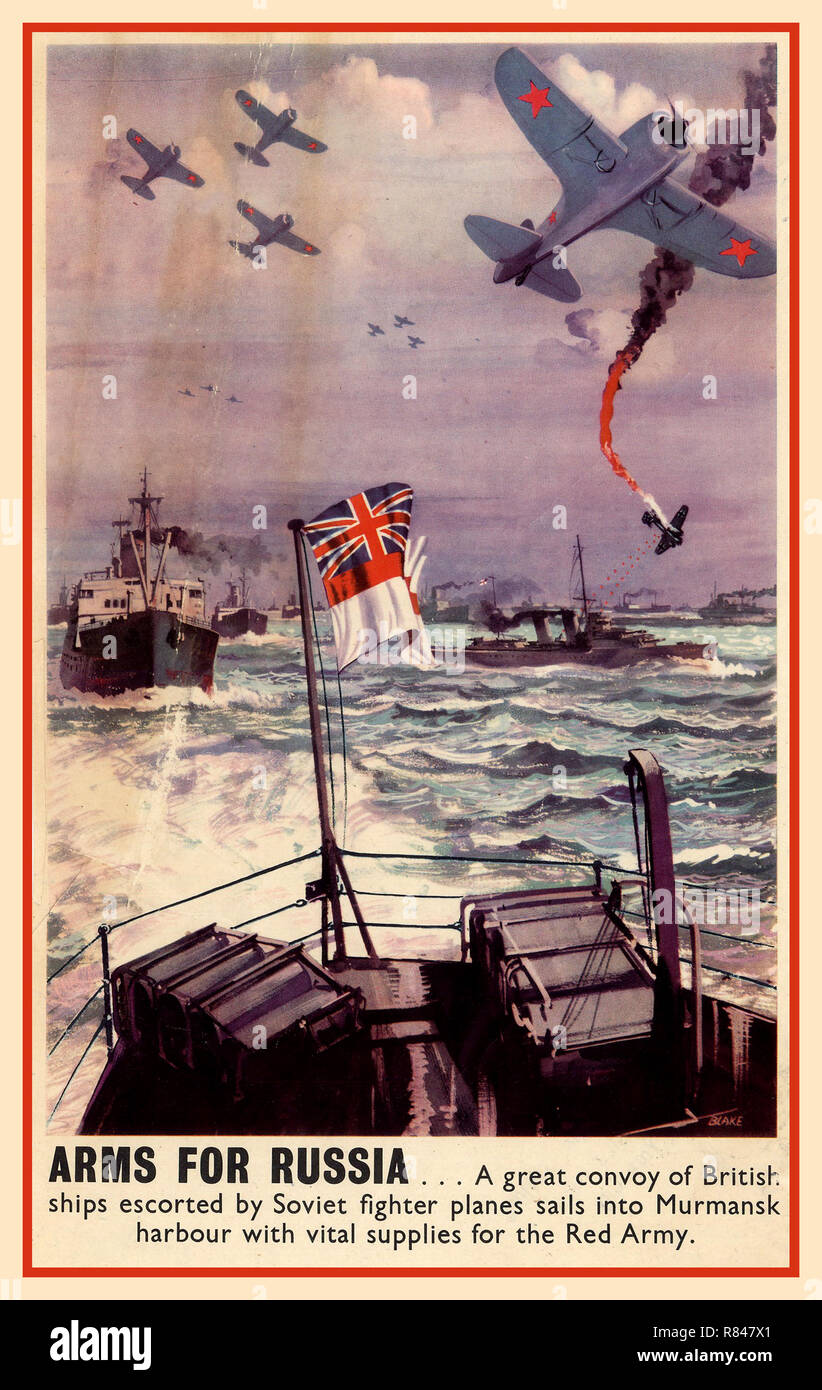 Vintage WW2 Propaganda Poster 1943  'Arms For Russia' … A great convoy of British ships escorted by Soviet fighter planes sails into Murmansk harbour with vital supplies for the Soviet Red Army - Stock Image