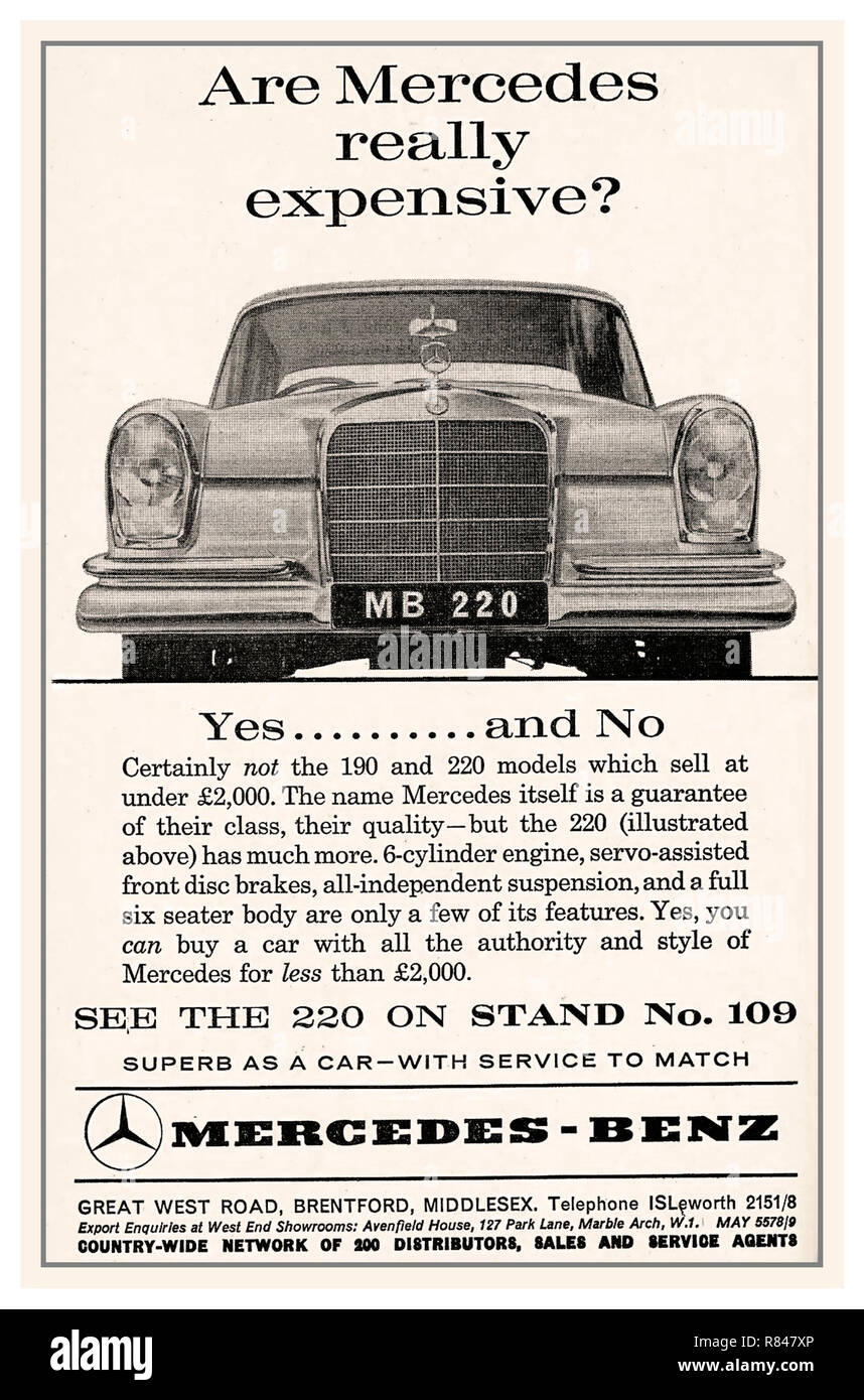 1964 vintage historic old Mercedes 220 Press Advertisement for the Mercedes stand at the UK Earls Court Motor Show Stock Photo