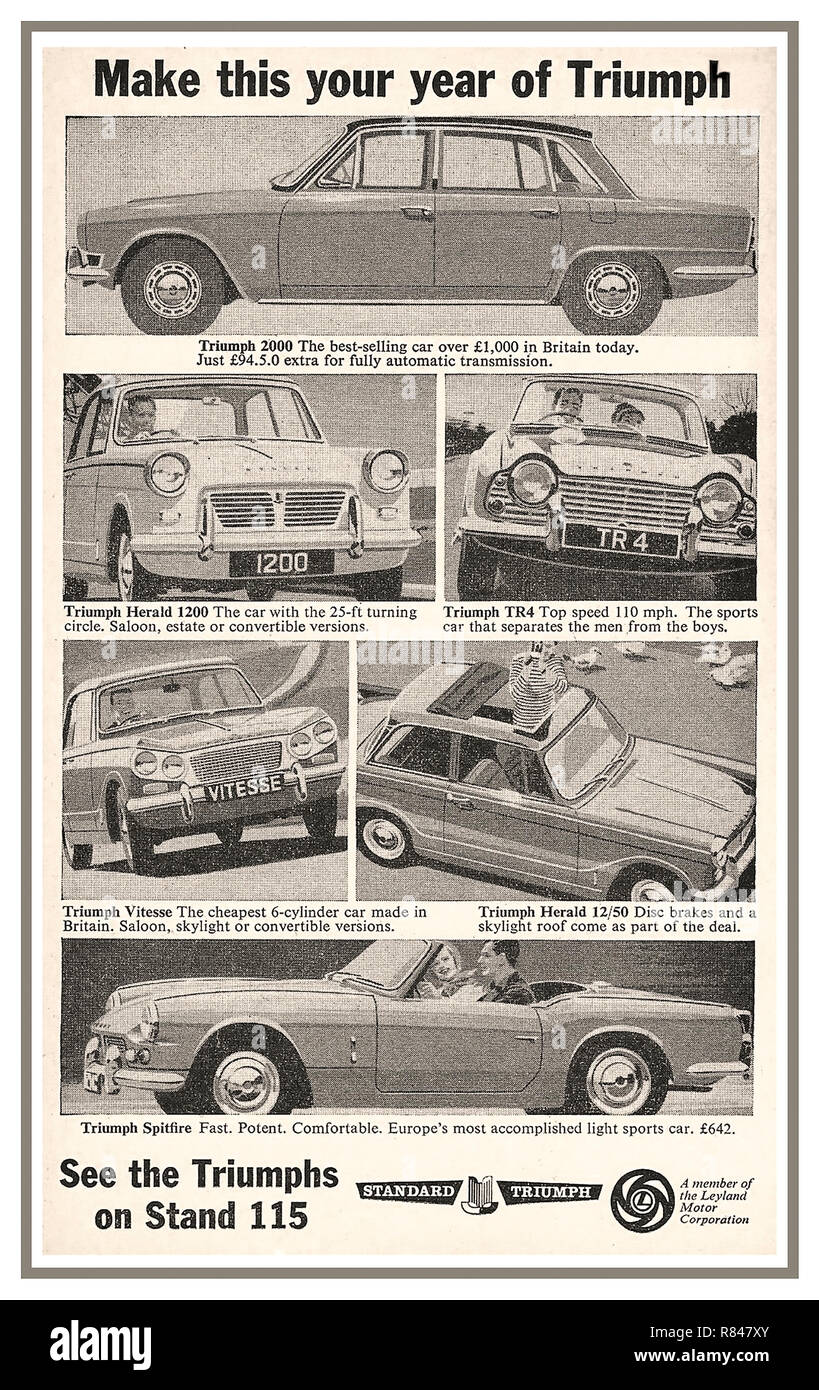 1964 Earls Court Motor Show press advertisement for the British Leyland Triumph Standard Motorcar range: Triumph 2000/ Triumph Herald 1200/ Triumph TR4/ Triumph Vitesse/ Triumph Herald/ Triumph Spitfire Stock Photo