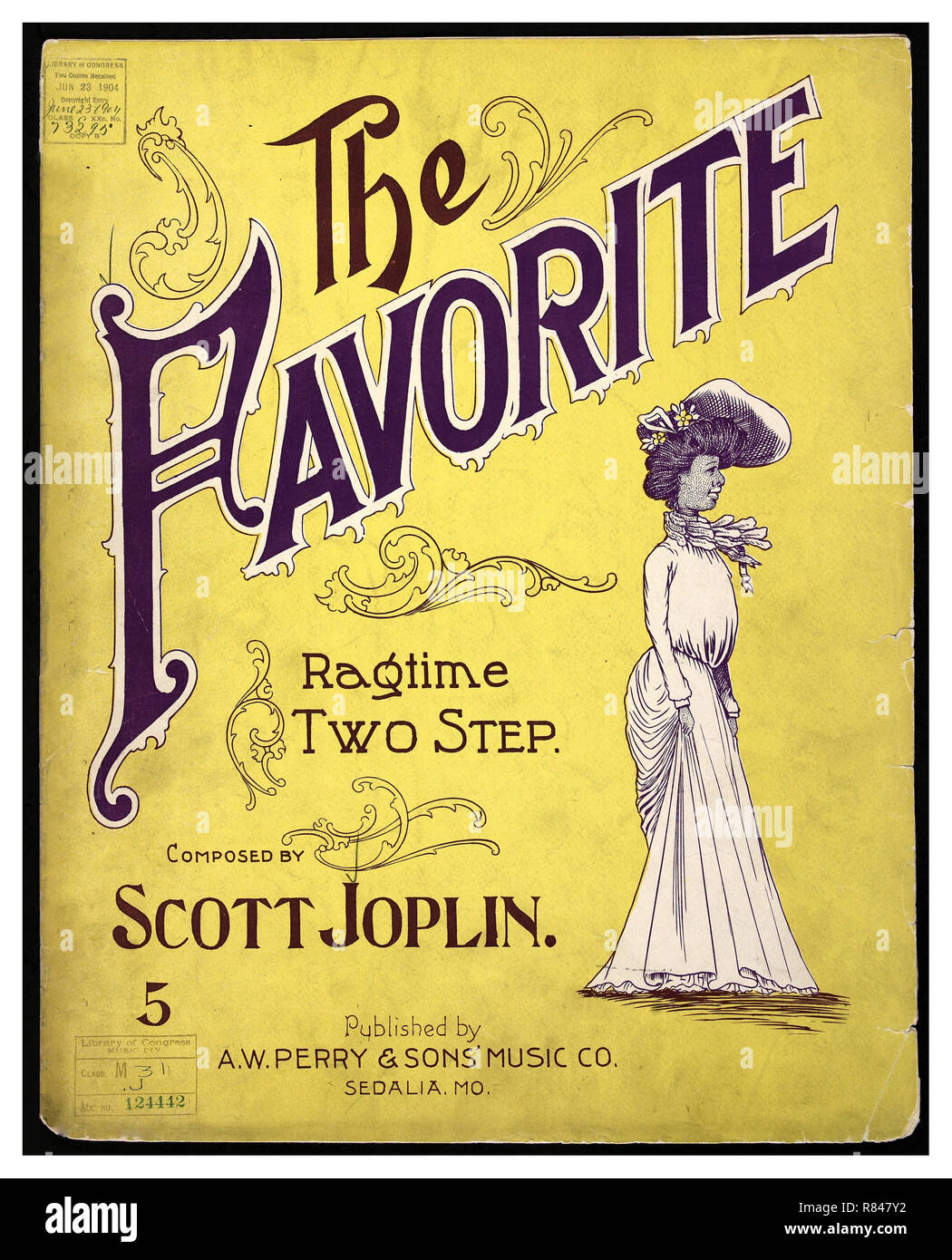 SCOTT JOPLIN 1900's 'The Favorite' Ragtime Two Step Sheet Music by Scott Joplin published by AW Perry and Sons - Stock Image