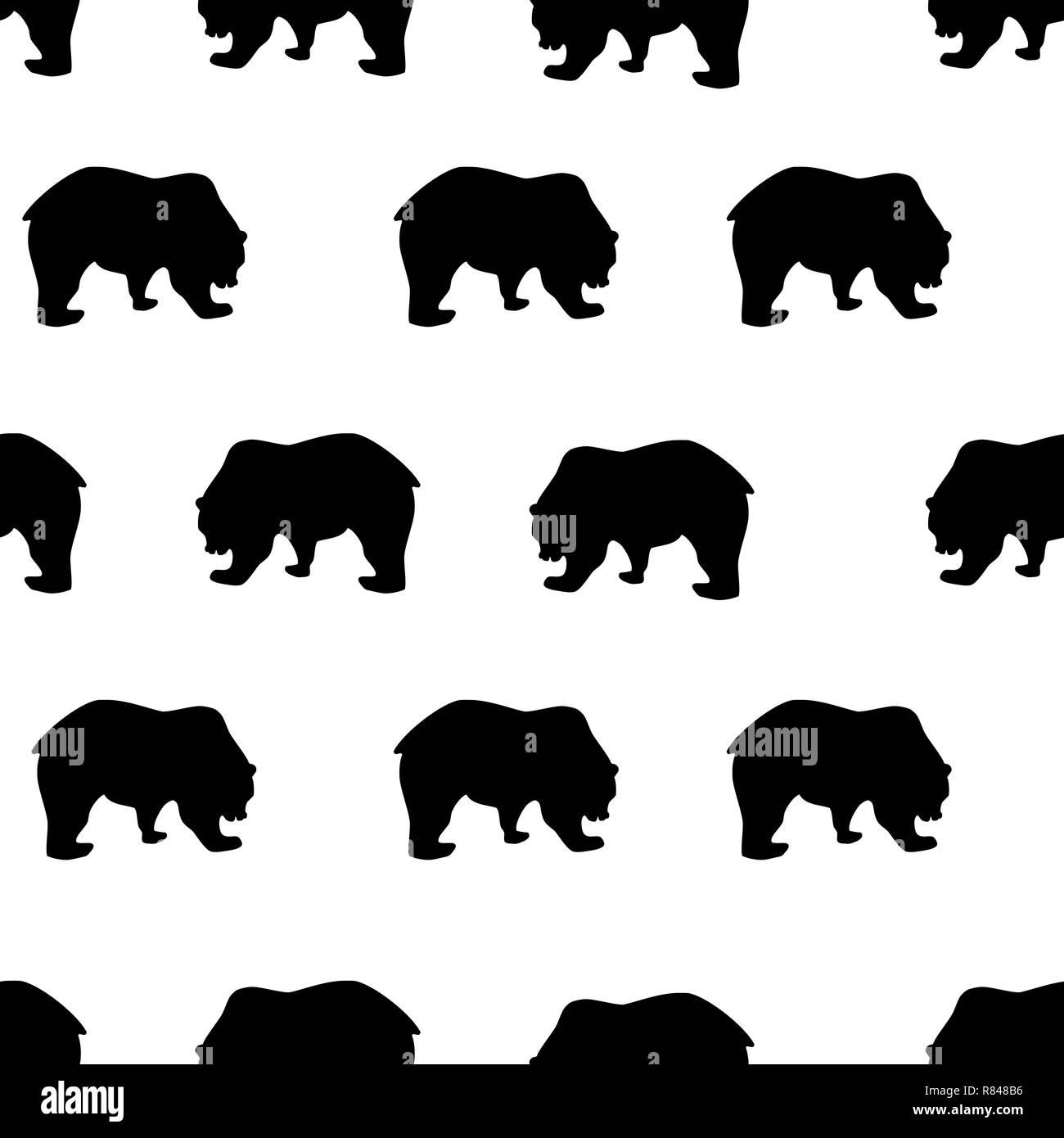 Seamless pattern black bear silhouette on white background