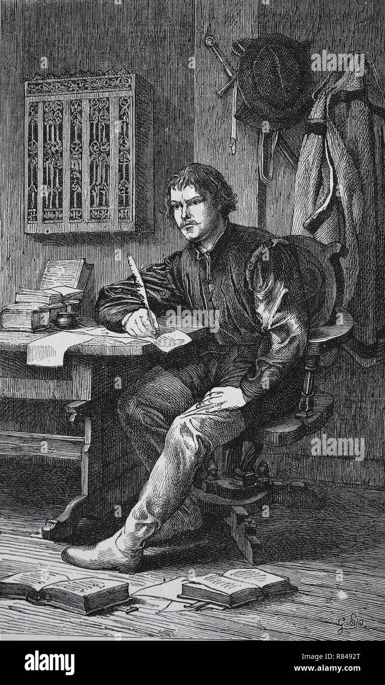 Martin Luther (1483-1546). German reformer. Luther in Warburg castle. Engraving by Germania, 1882. - Stock Image