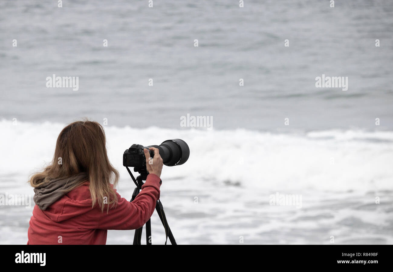 Female photographer using telephoto lens at surfing competition - Stock Image