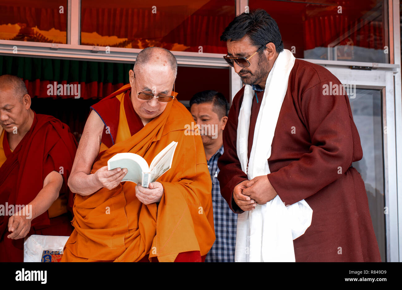 His Holiness the 14th Dalai Lama during his visit to the Spring Dales Public School in Mulbekh, Ladakh, Jammu and Kashmir, India, July 26, 2018. (CTK  Stock Photo
