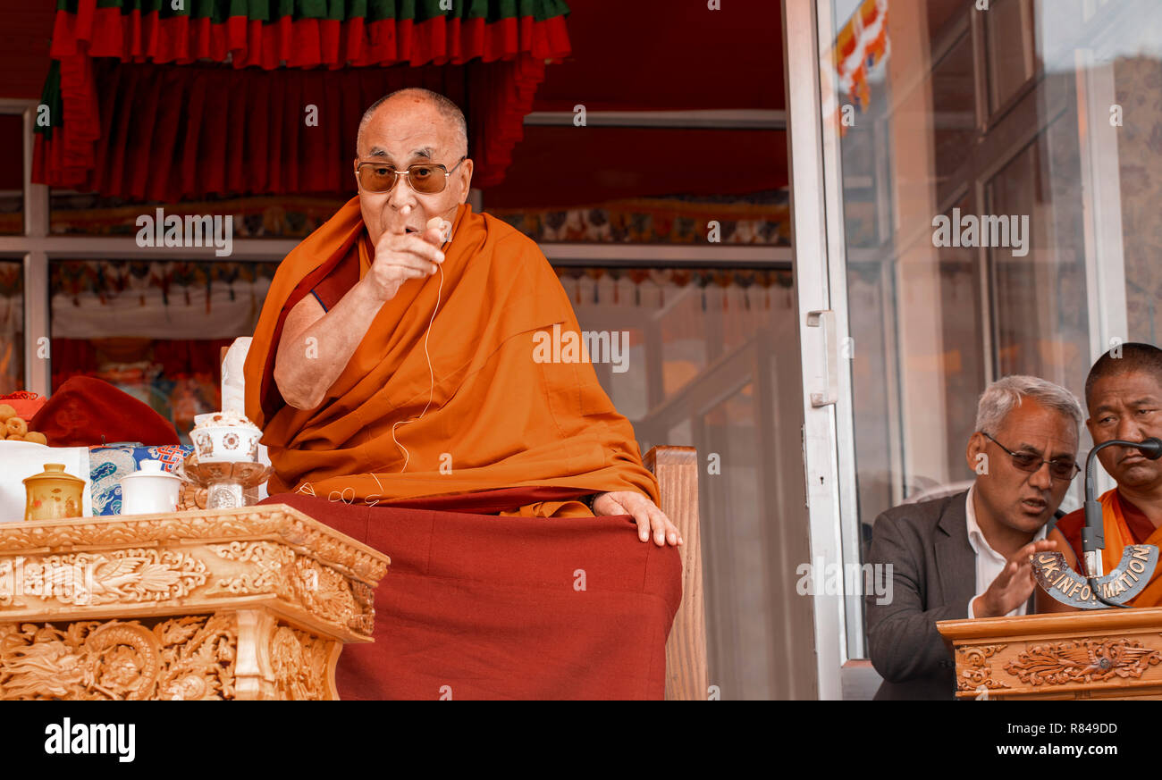 His Holiness the 14th Dalai Lama giving a speech during his visit to the Spring Dales Public School in Mulbekh, Ladakh, Jammu and Kashmir, India, July - Stock Image
